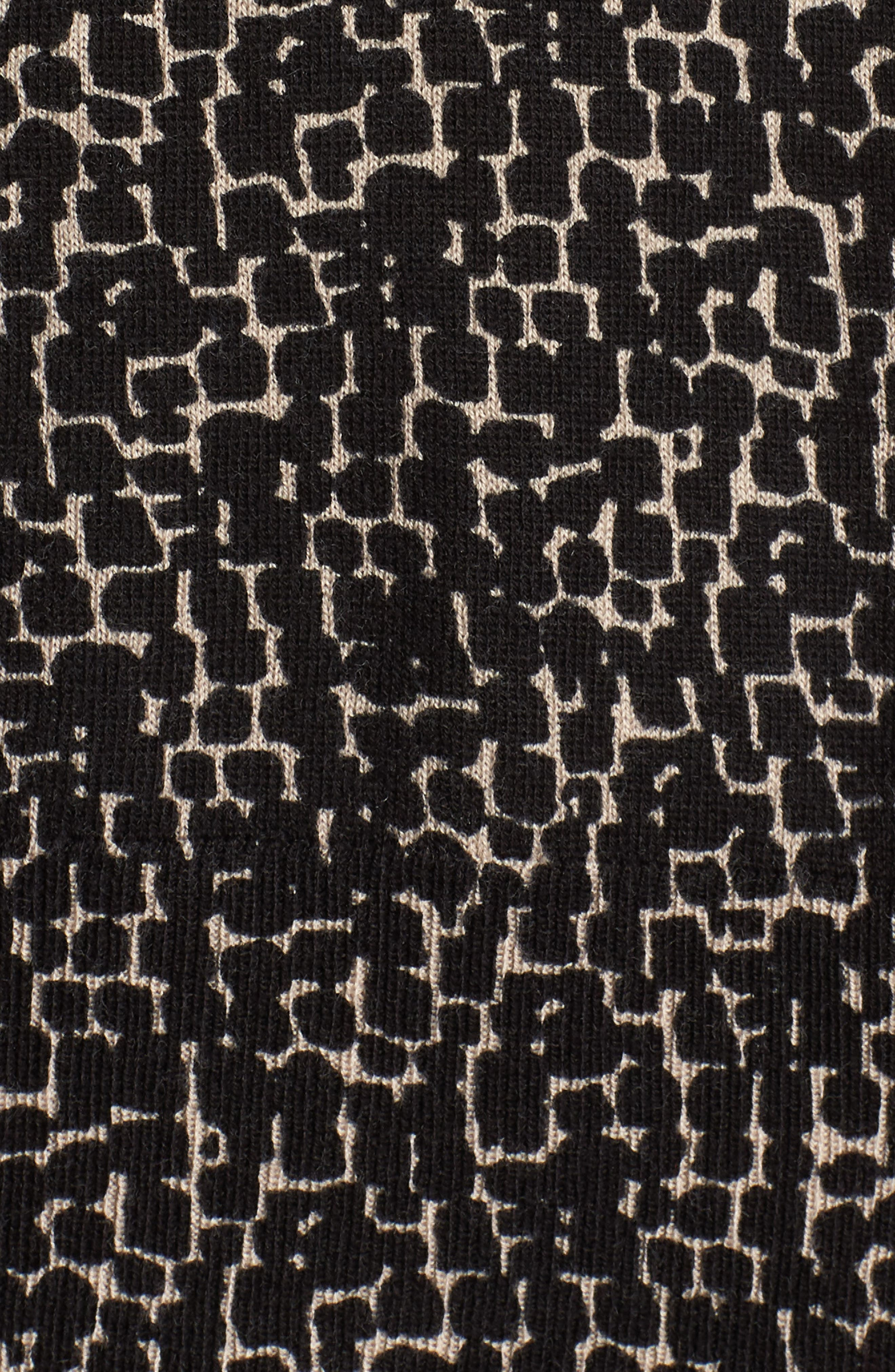 Easy Cropped Cardigan,                             Alternate thumbnail 6, color,                             BLACK-TAN GIA PRINT