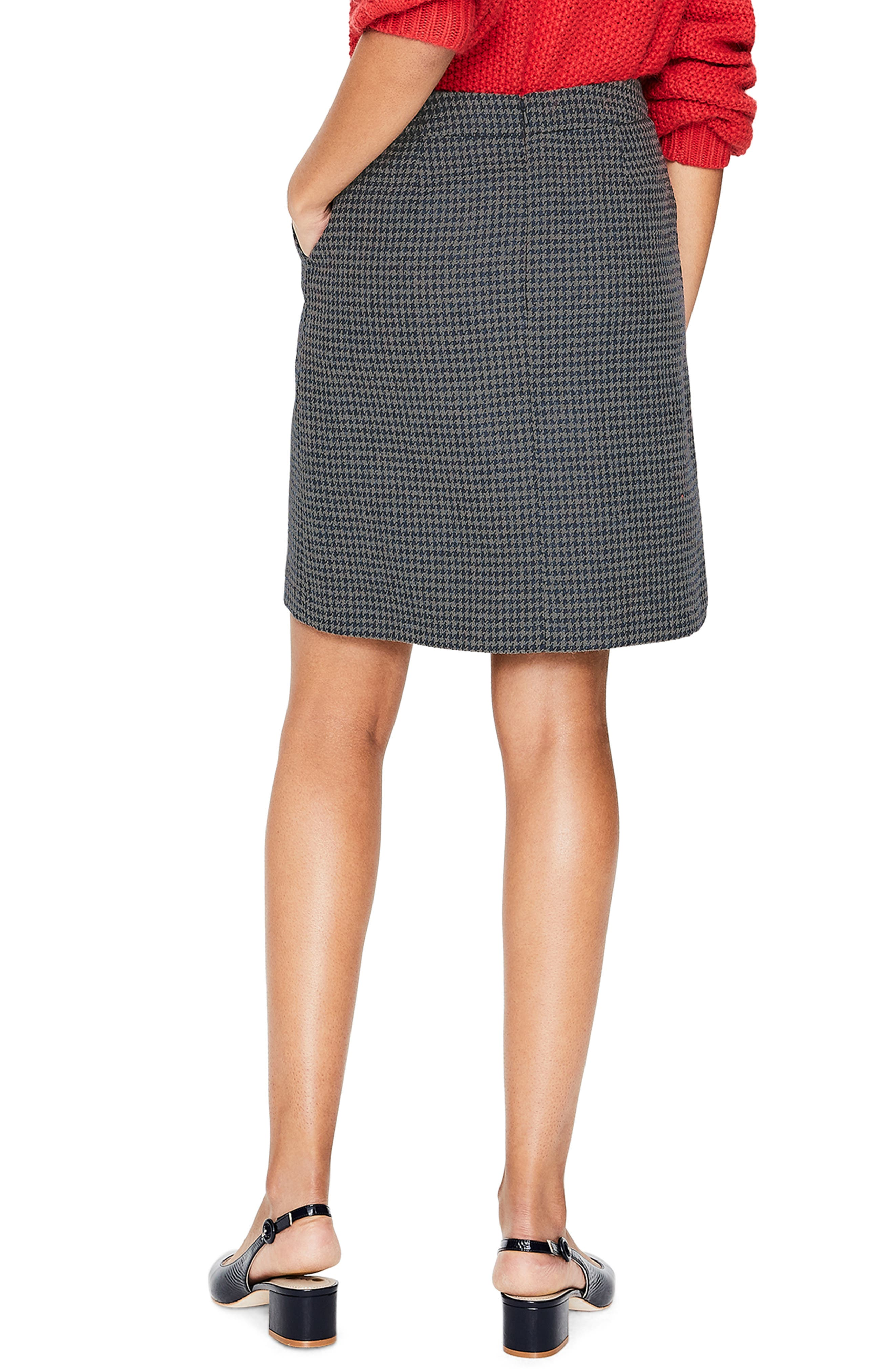 British Tweed Wool Mini Skirt,                             Alternate thumbnail 2, color,                             NAVY/ GREY MARL PUPPYTOOTH