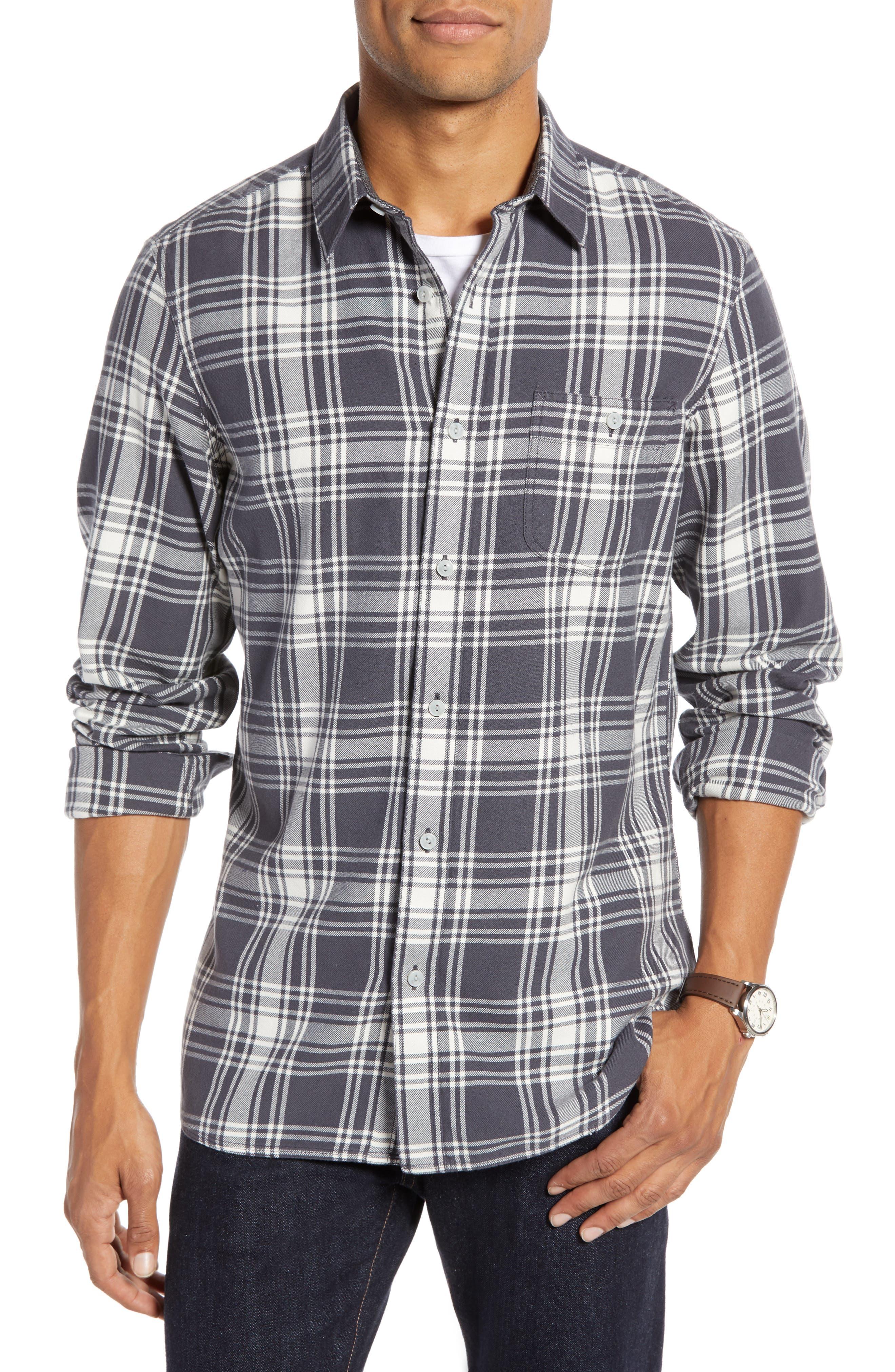 Plaid Utility Long Sleeve Trim Fit Sport Shirt,                         Main,                         color, GREY CASTLEROCK PLAID