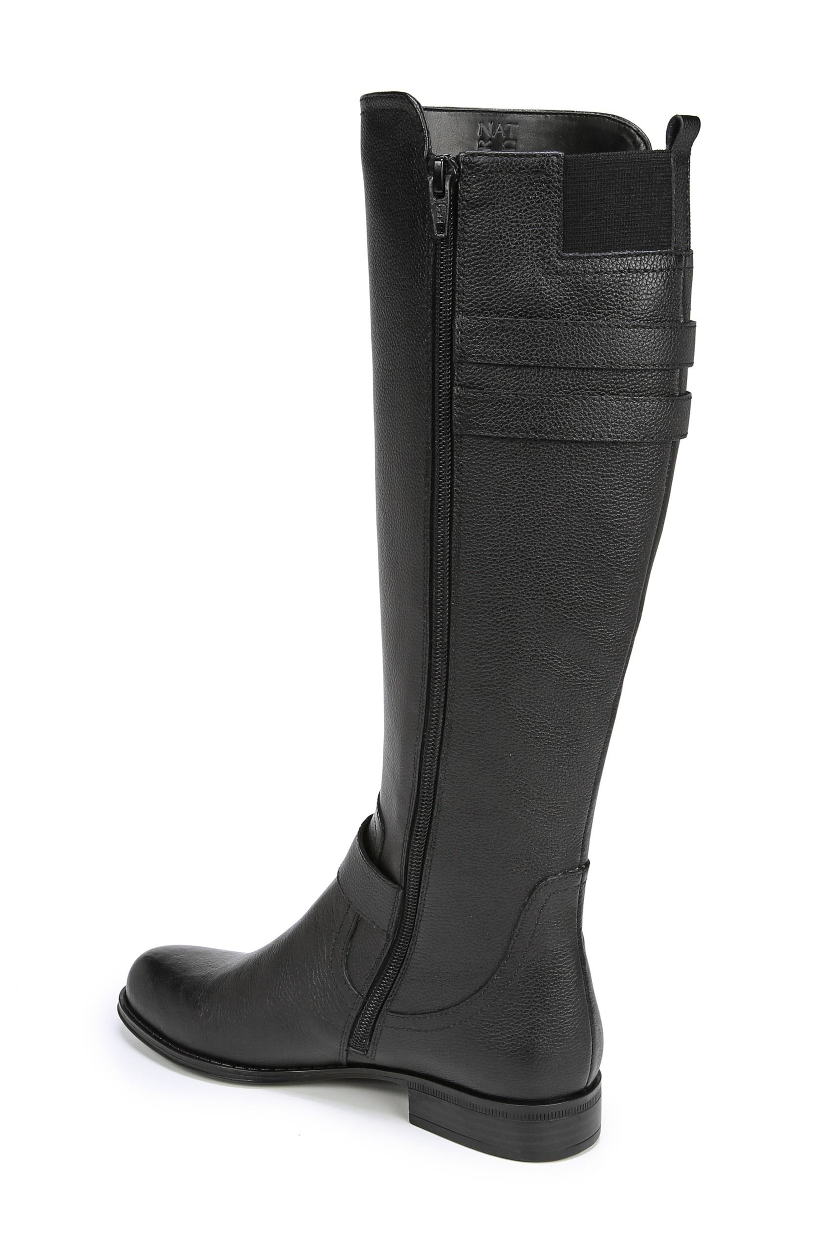Jessie Knee High Riding Boot,                             Alternate thumbnail 2, color,                             BLACK LEATHER
