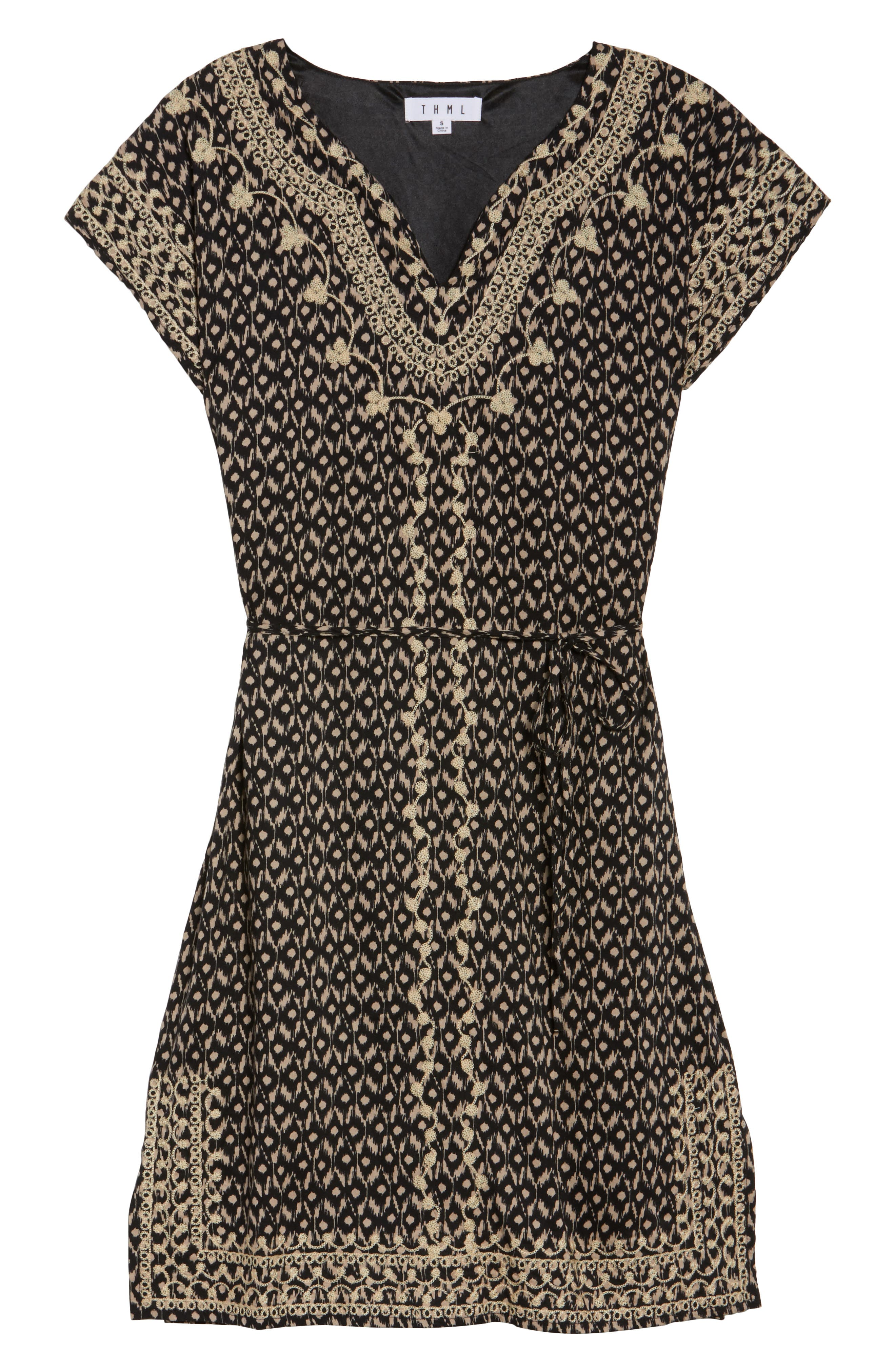 Embroidered Shift Dress,                             Alternate thumbnail 6, color,                             001