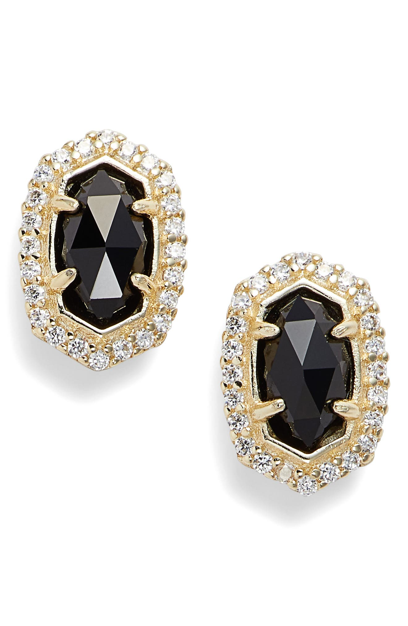 KENDRA SCOTT 'Cade' Drusy Stud Earrings, Main, color, BLACK/ GOLD