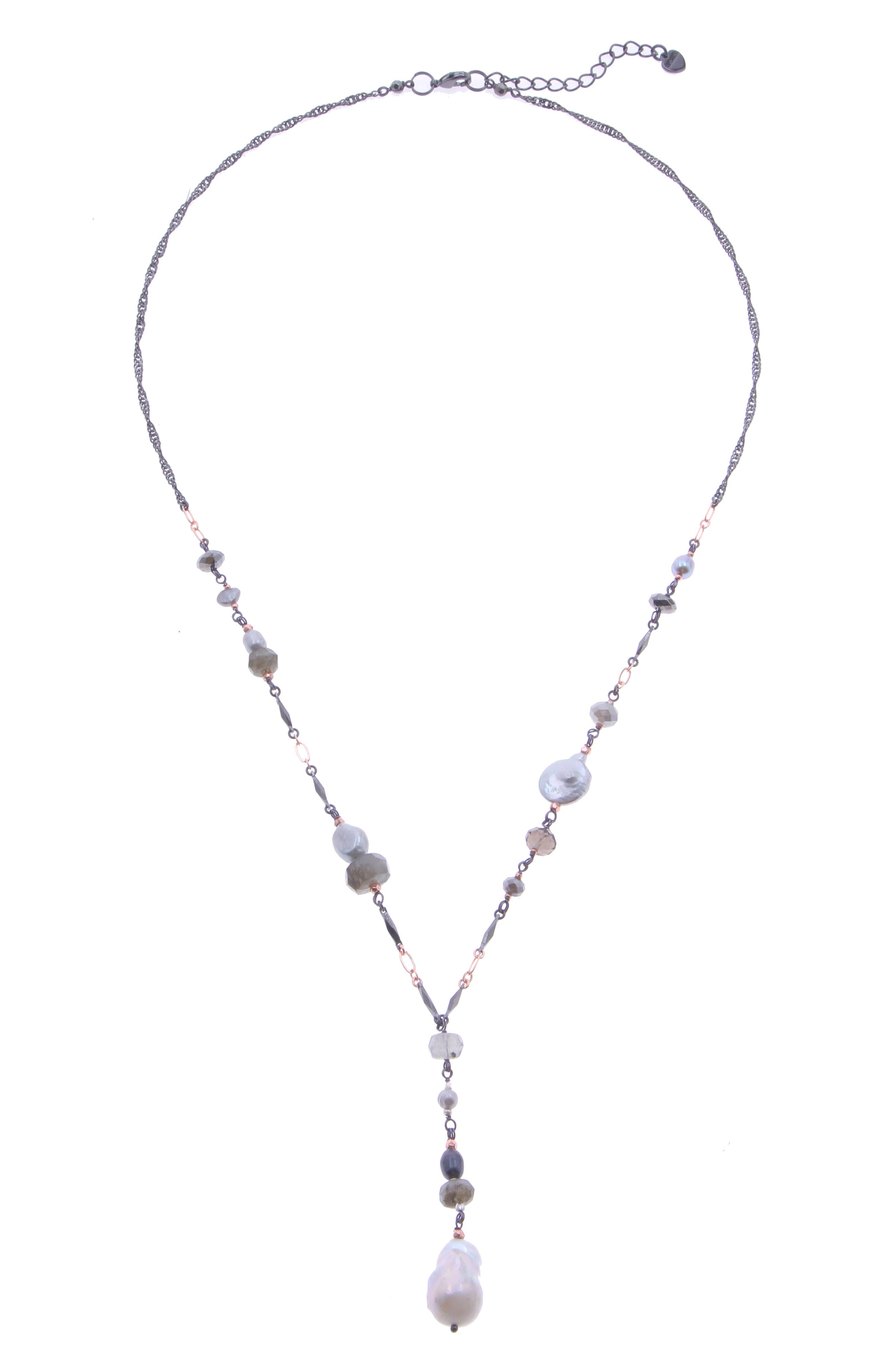 Rosary Bead Y-Necklace with Freshwater Pearl, Main, color, SILVER