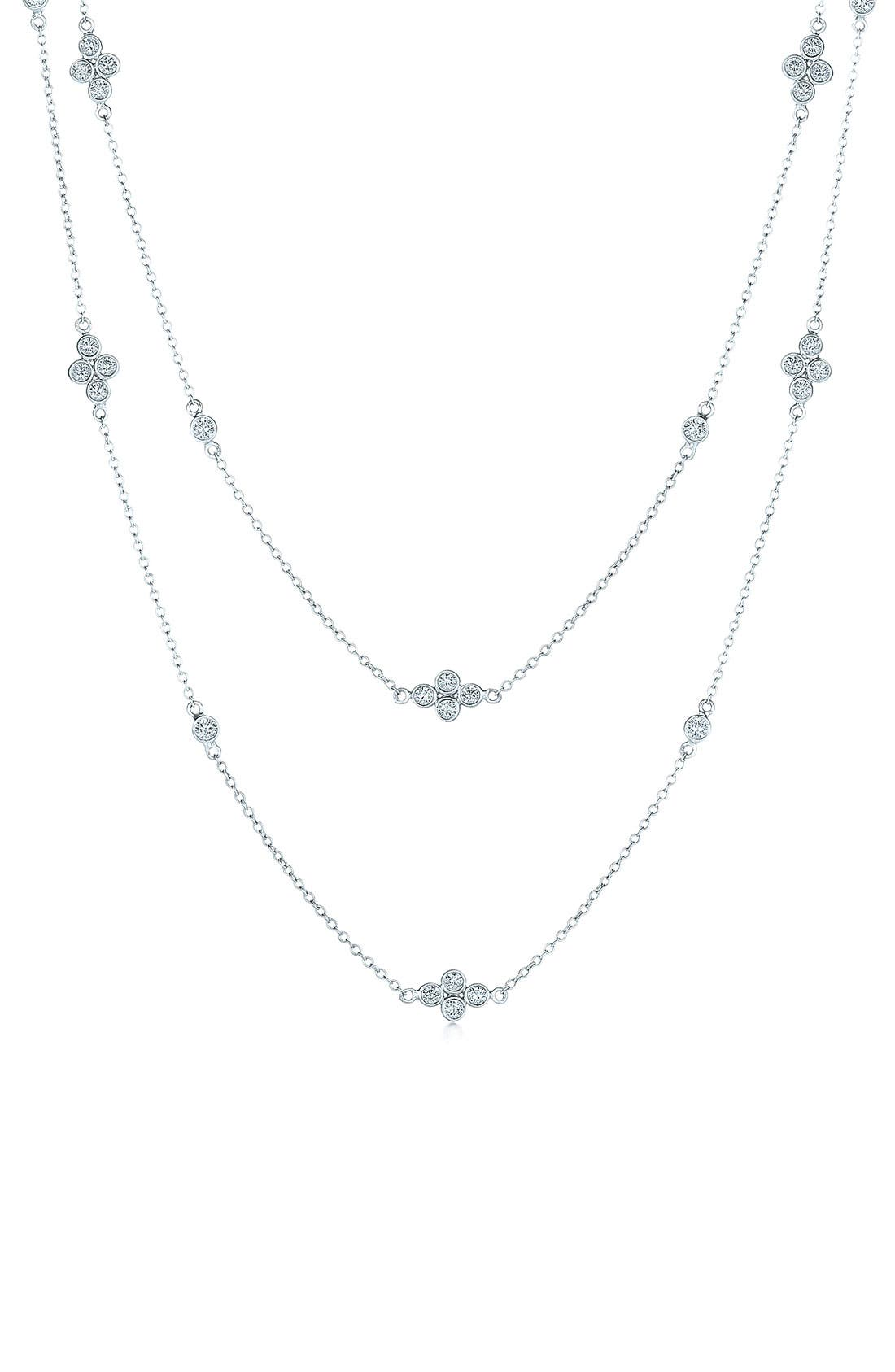 'Diamond Strings' Long Diamond Station Necklace,                             Main thumbnail 1, color,                             WHITE GOLD
