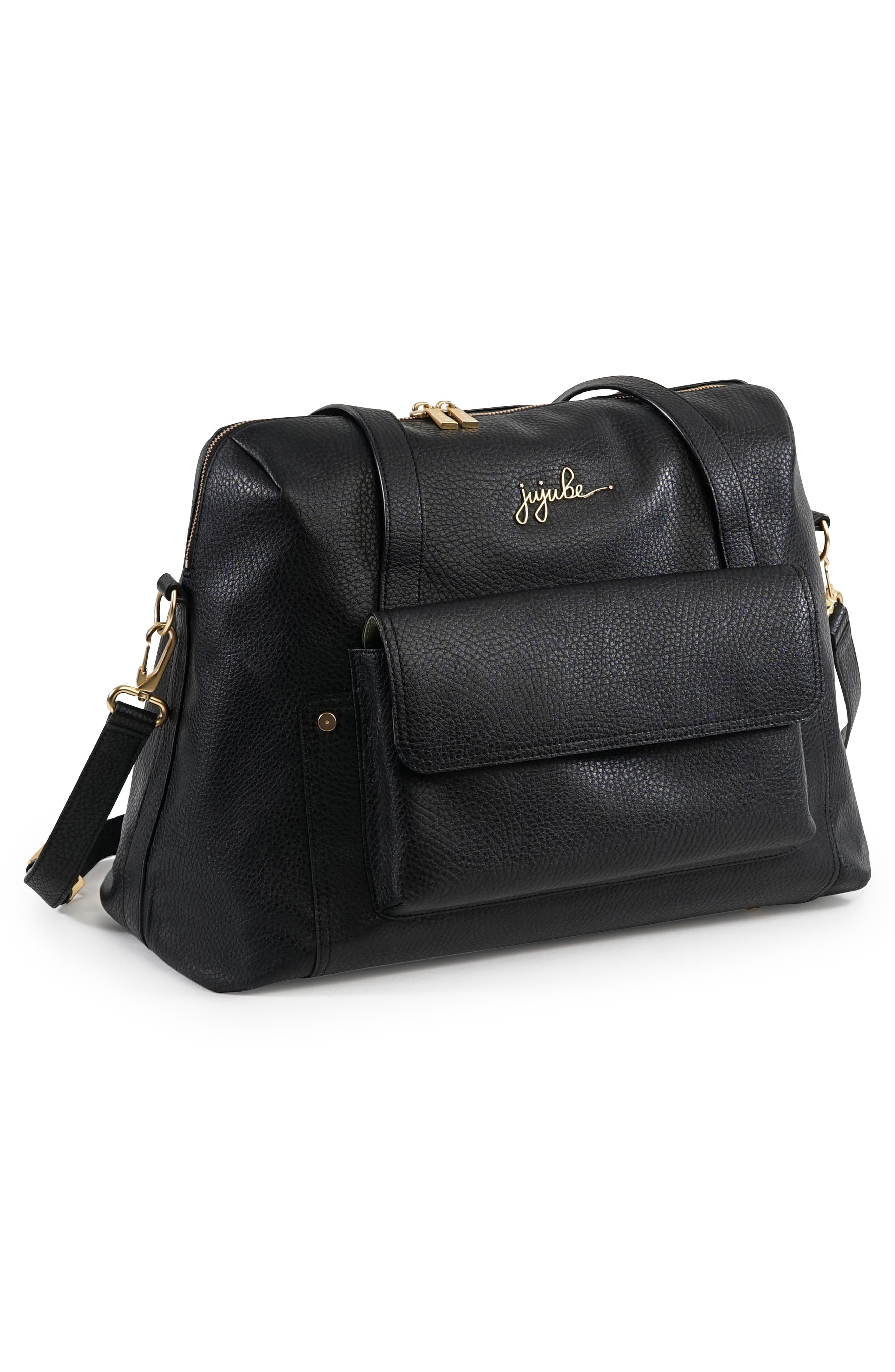 Ever Collection Wherever Faux Leather Weekend Diaper Bag,                             Alternate thumbnail 3, color,                             NOIR