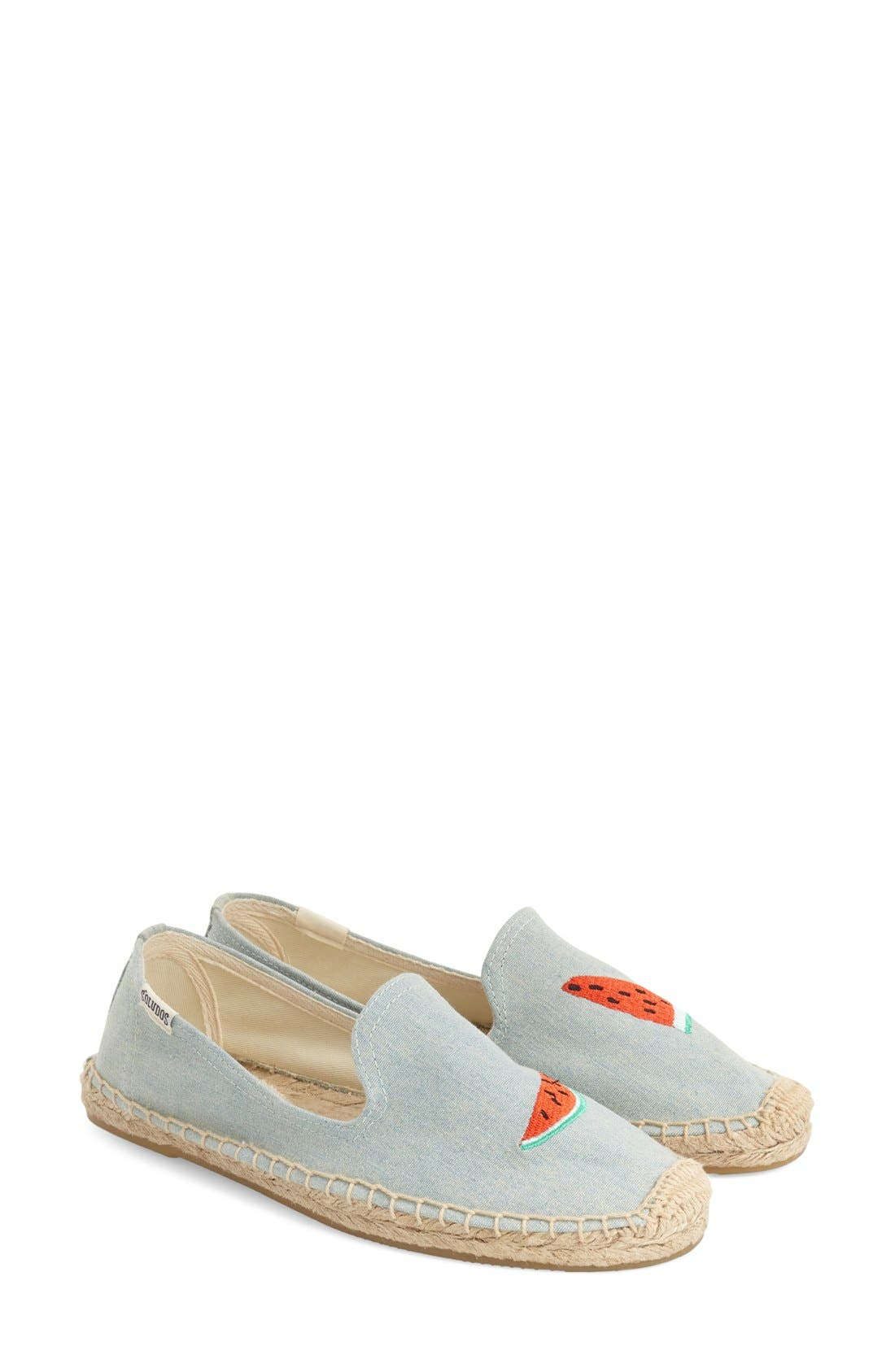 SOLUDOS,                             'Watermelon' Embroidered Flat,                             Main thumbnail 1, color,                             420