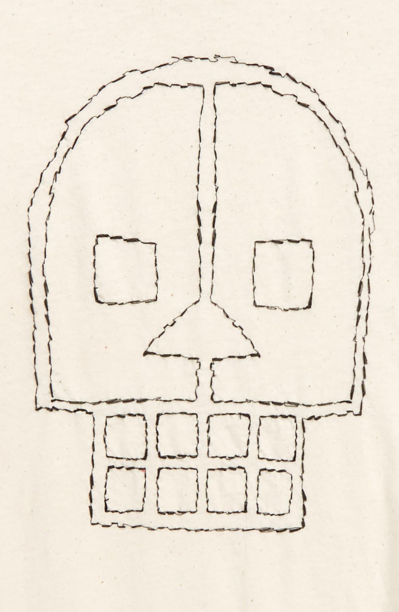 Embroidered Skull Layered Shirt,                             Alternate thumbnail 2, color,                             NATURAL