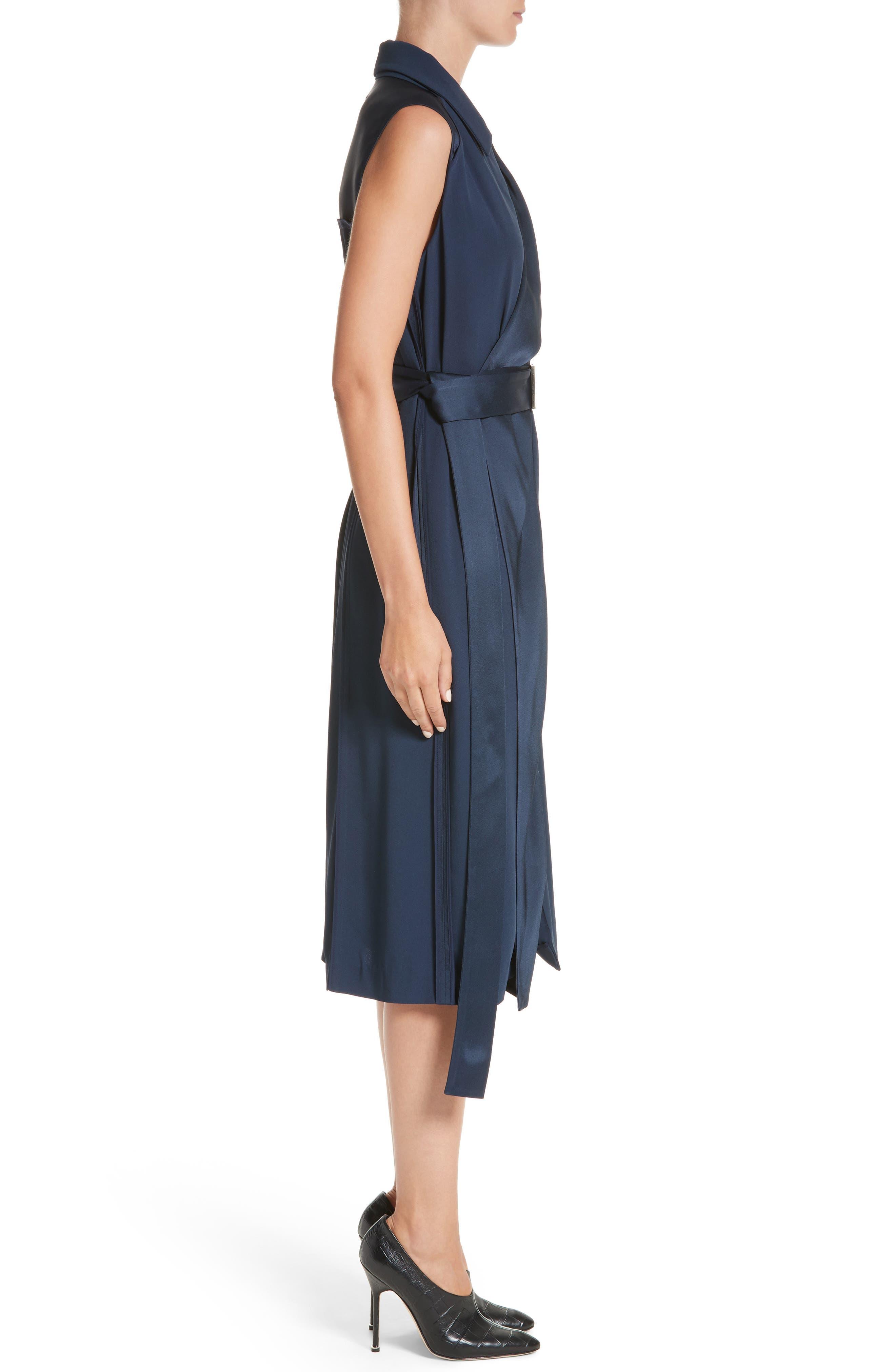 Crepe Back Satin Belted Wrap Dress,                             Alternate thumbnail 3, color,
