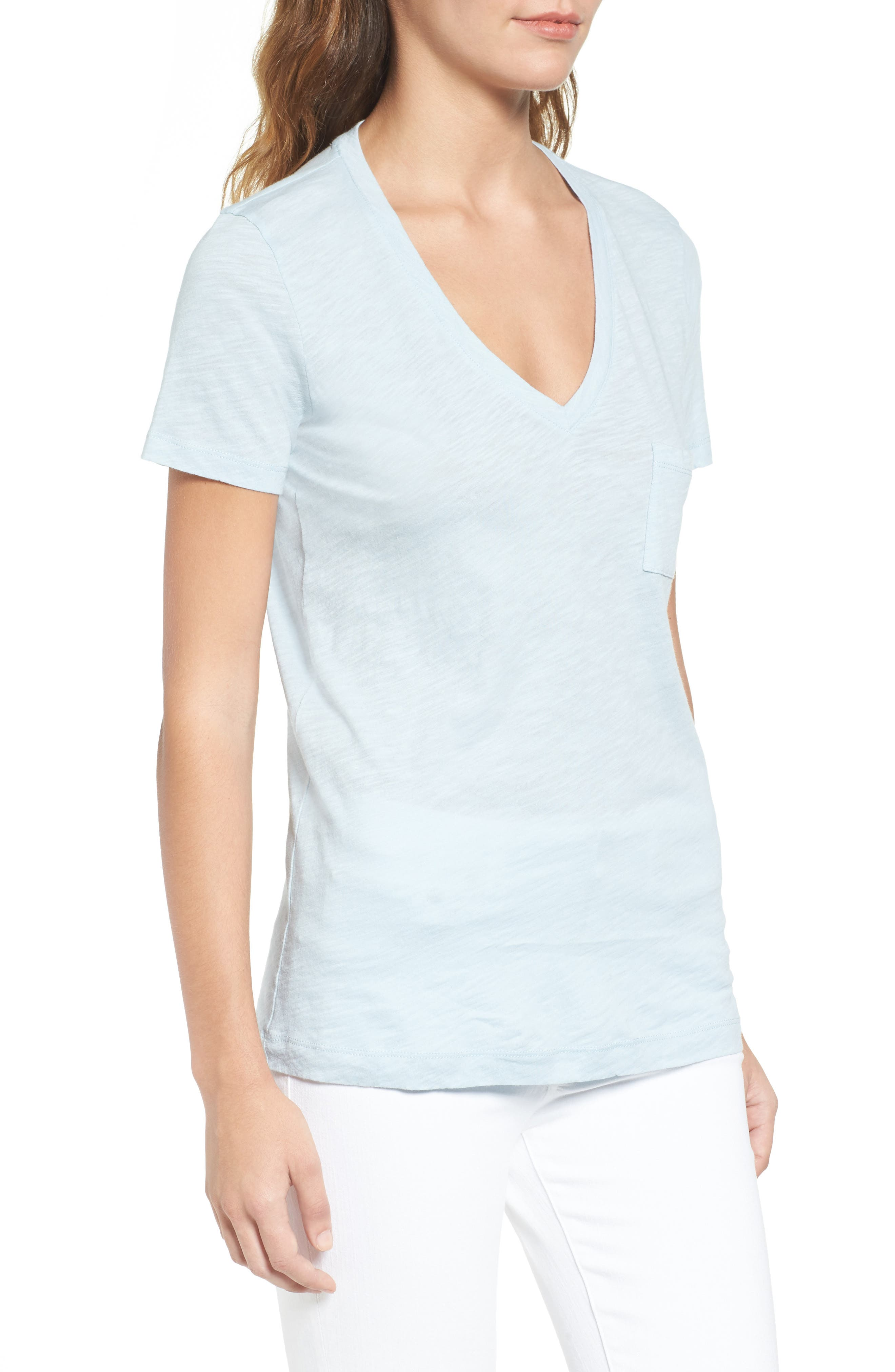 Whisper Cotton V-Neck Pocket Tee,                             Alternate thumbnail 112, color,