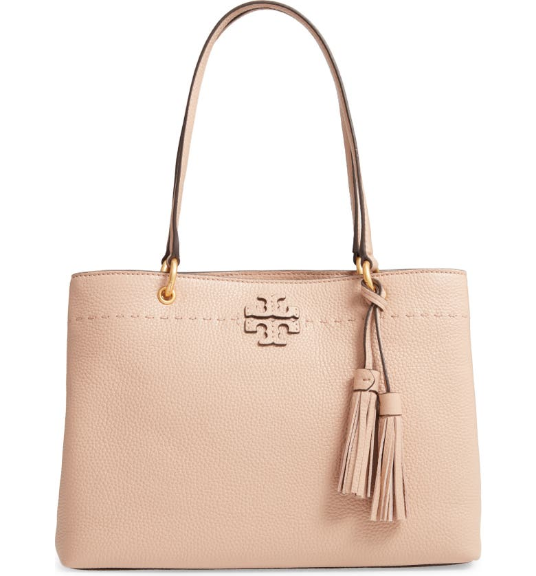 d0ca266aaad4ff Tory Burch Mcgraw Triple Compartment Leather Satchel - Beige In Devon Sand