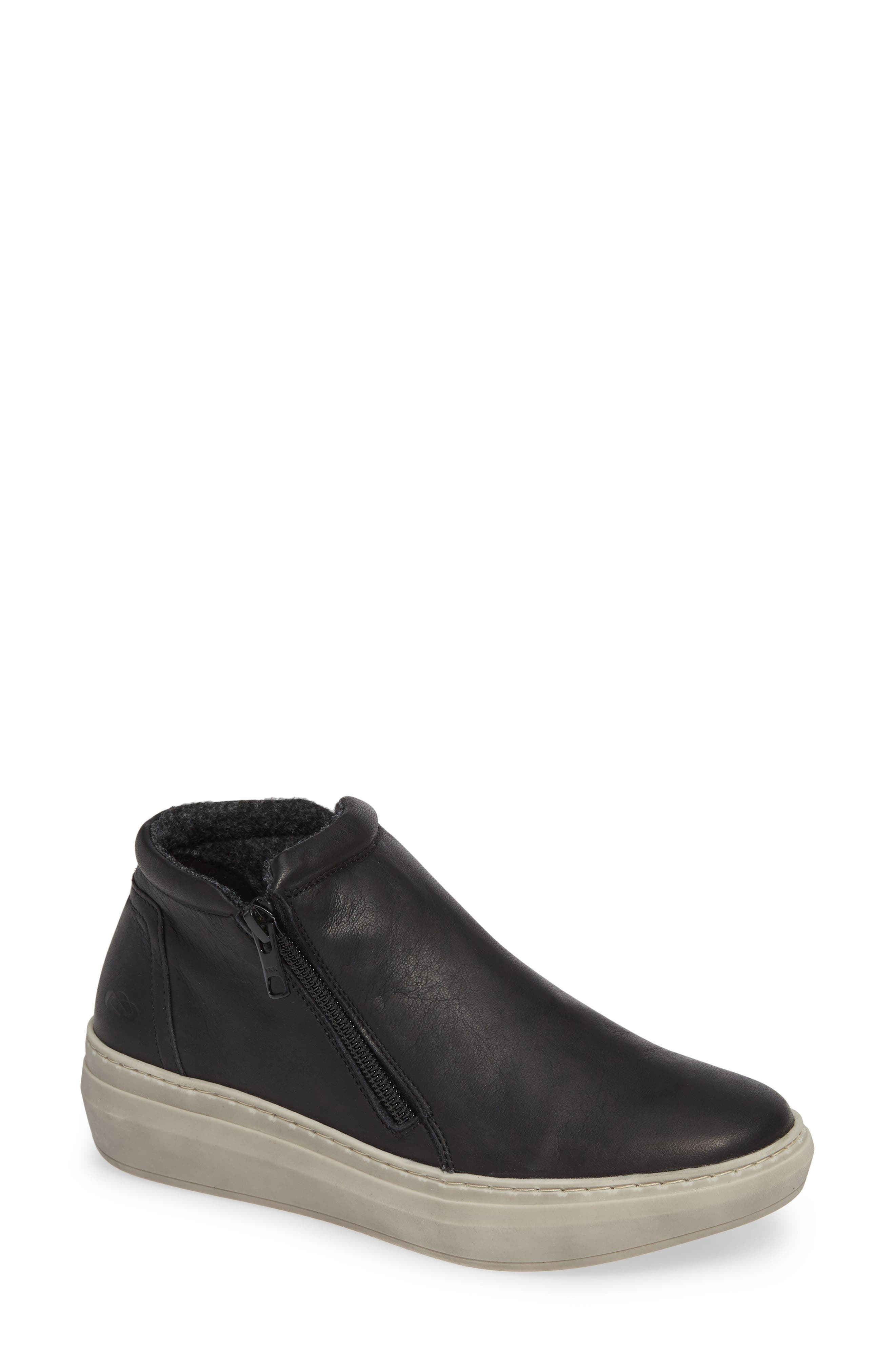 CLOUD,                             Qupid Wool Lined Sneaker,                             Main thumbnail 1, color,                             BLACK LEATHER