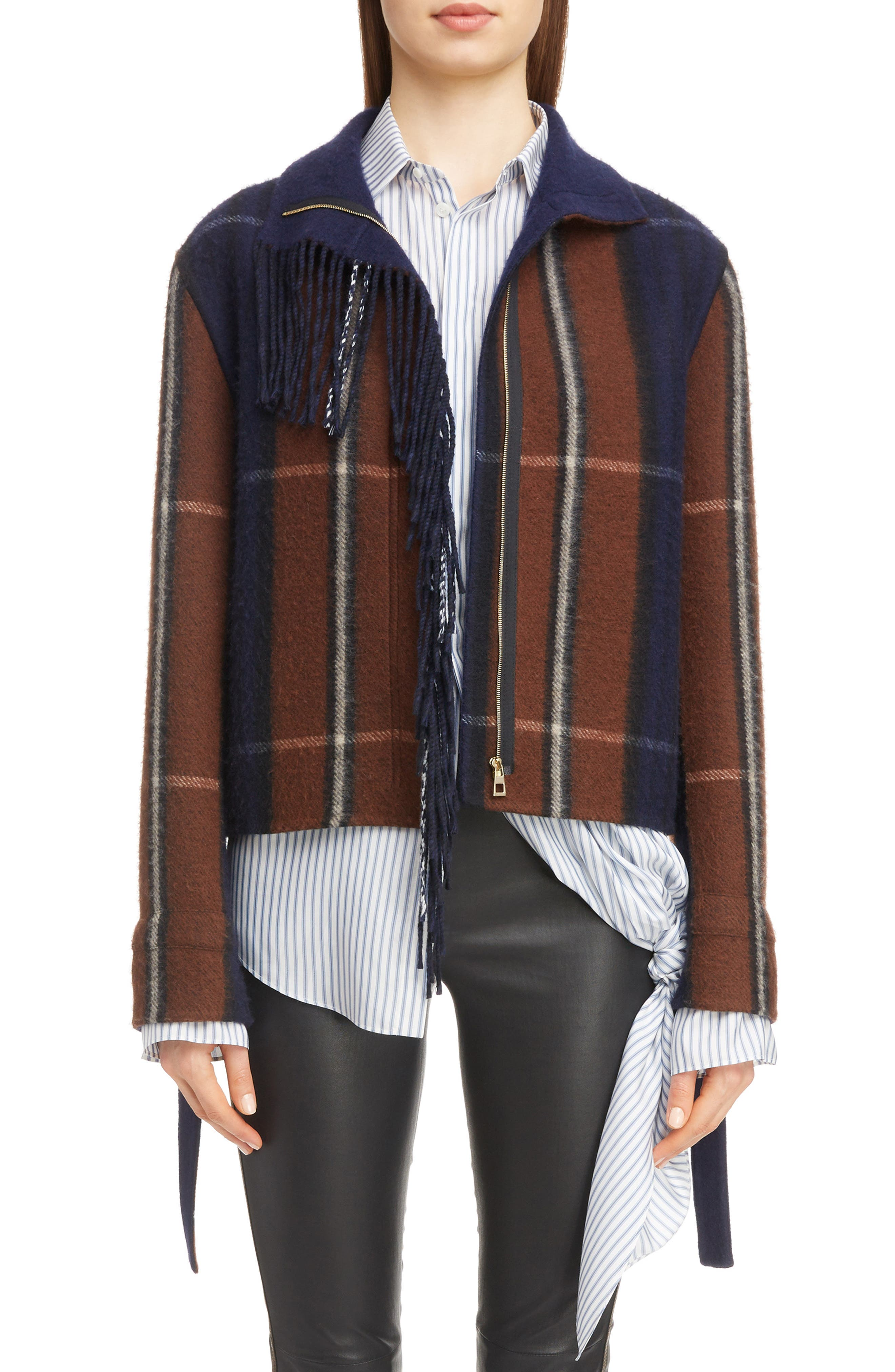Plaid Fringe Trim Wool & Cashmere Jacket,                         Main,                         color, 467