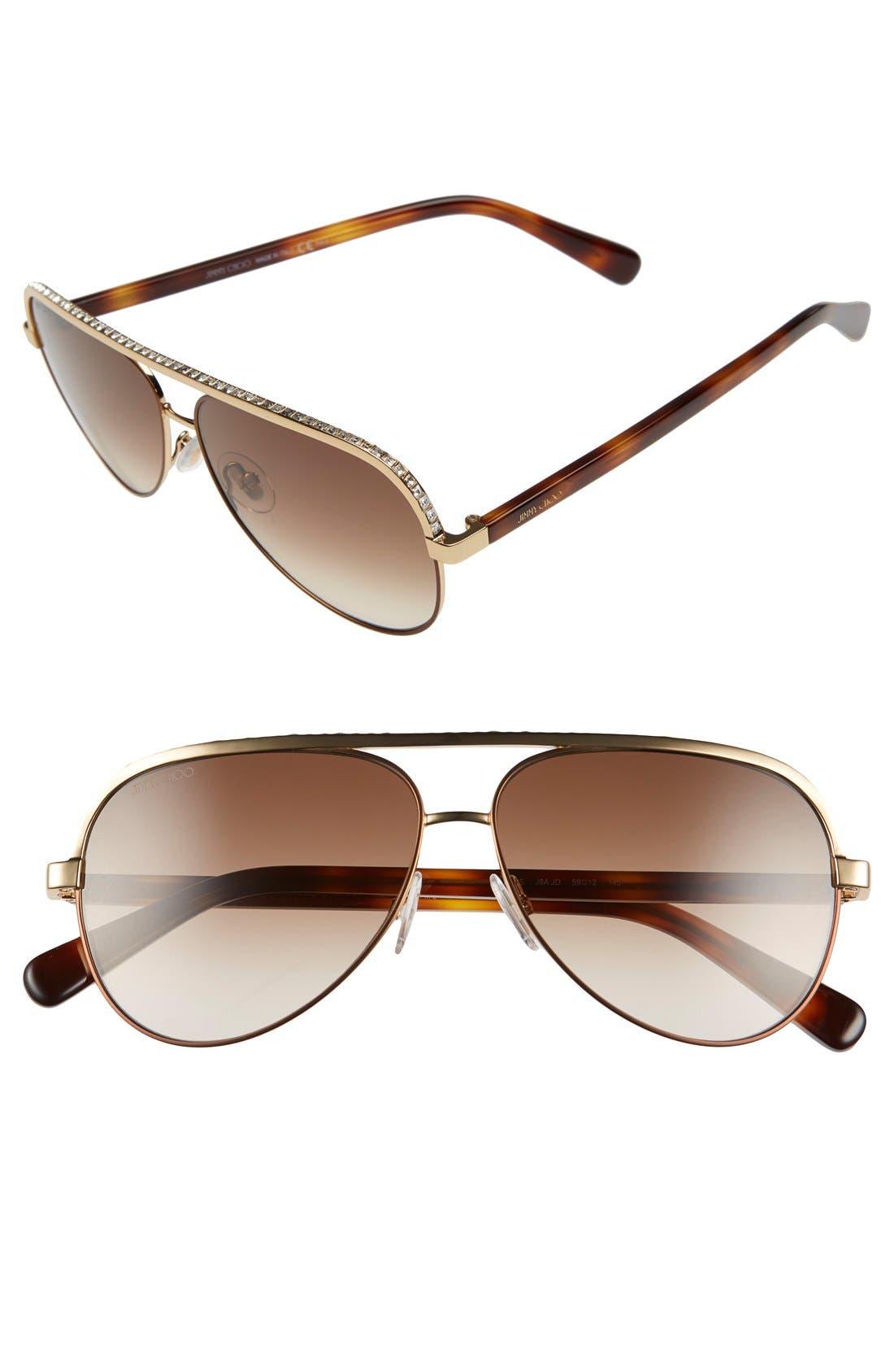 'Linas' 59mm Aviator Sunglasses,                             Main thumbnail 2, color,