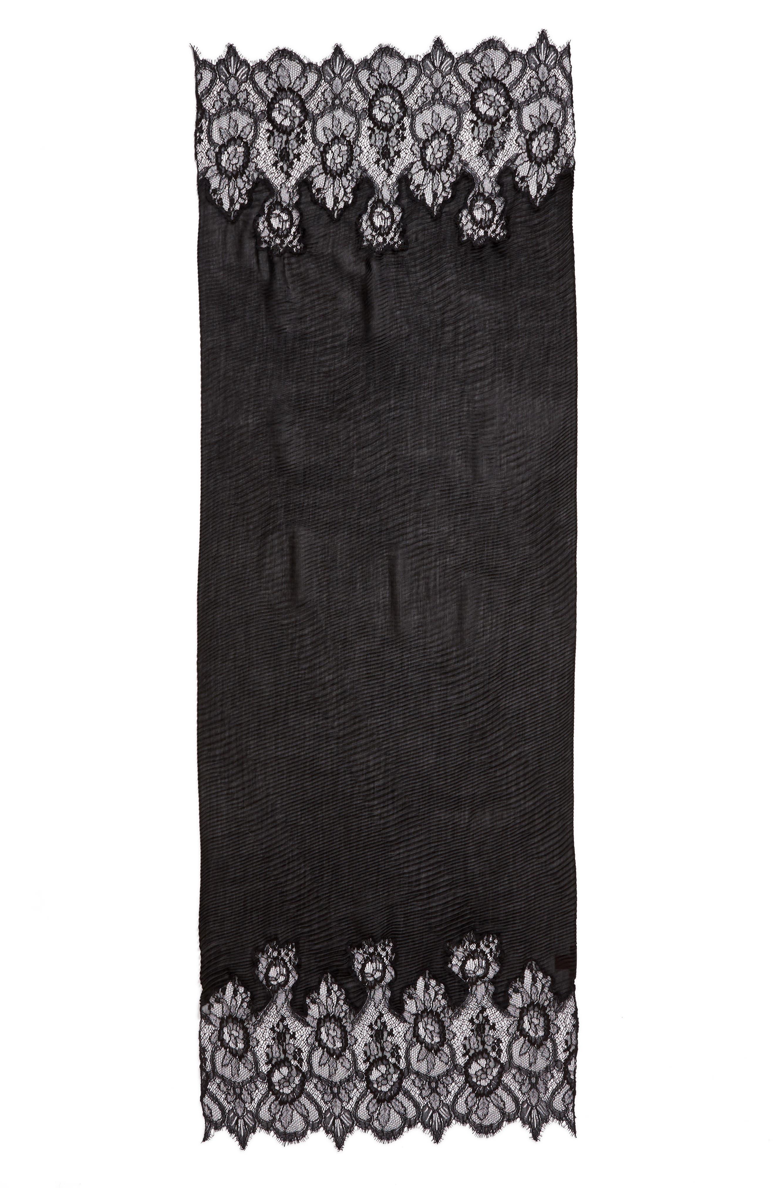 VALENTINO,                             Cashmere & Wool Wrap,                             Main thumbnail 1, color,                             NERO/ NERO