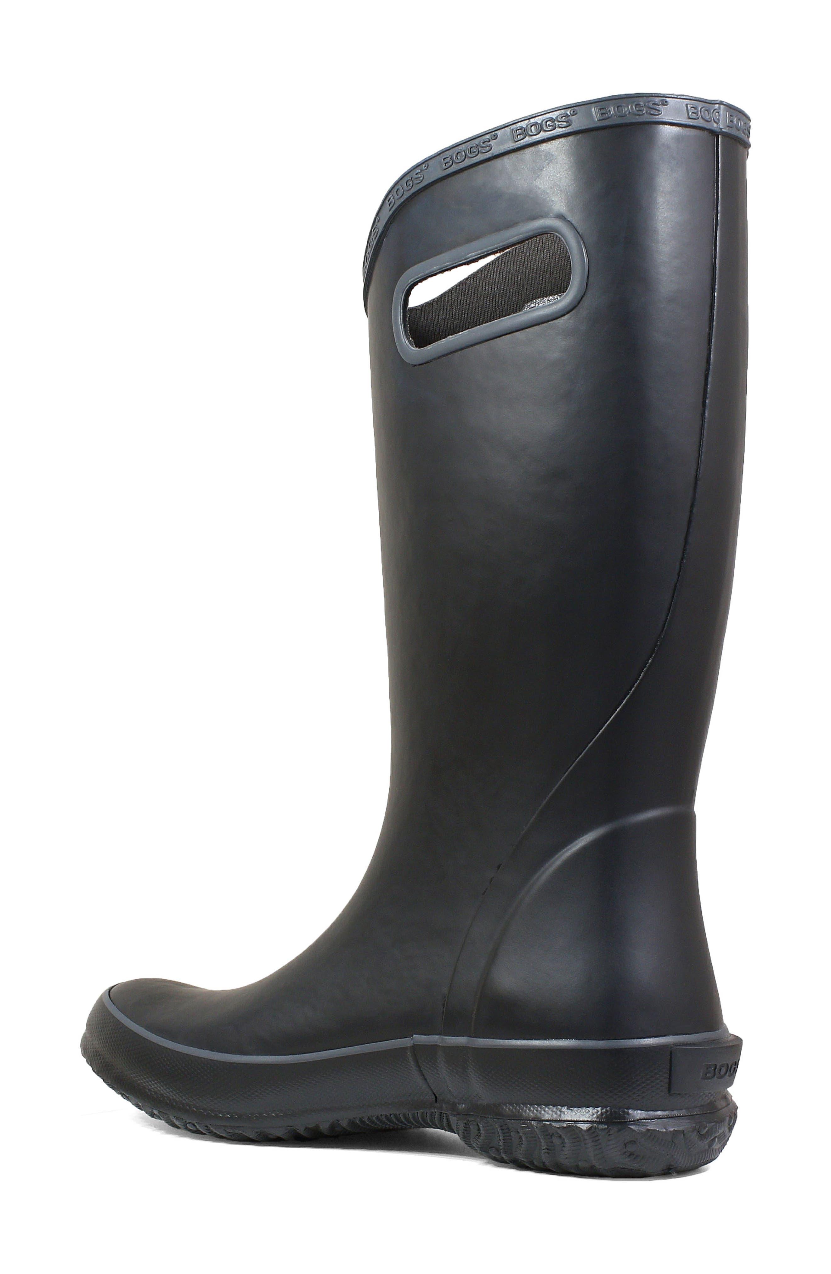 Classic Tall Waterproof Rain Boot,                             Alternate thumbnail 2, color,                             BLACK RUBBER