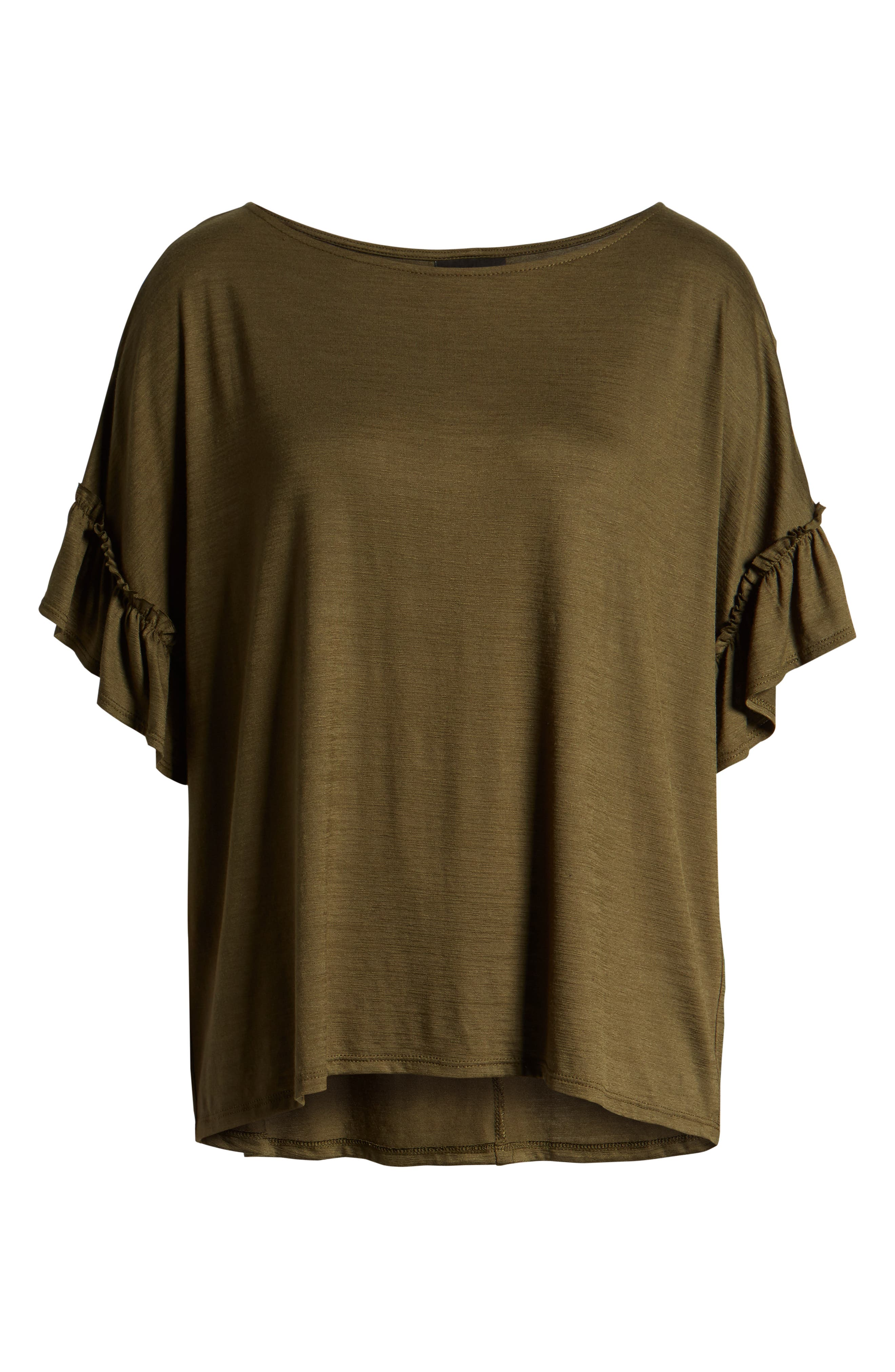 Ruffle Sleeve Top,                             Alternate thumbnail 6, color,                             OLIVE