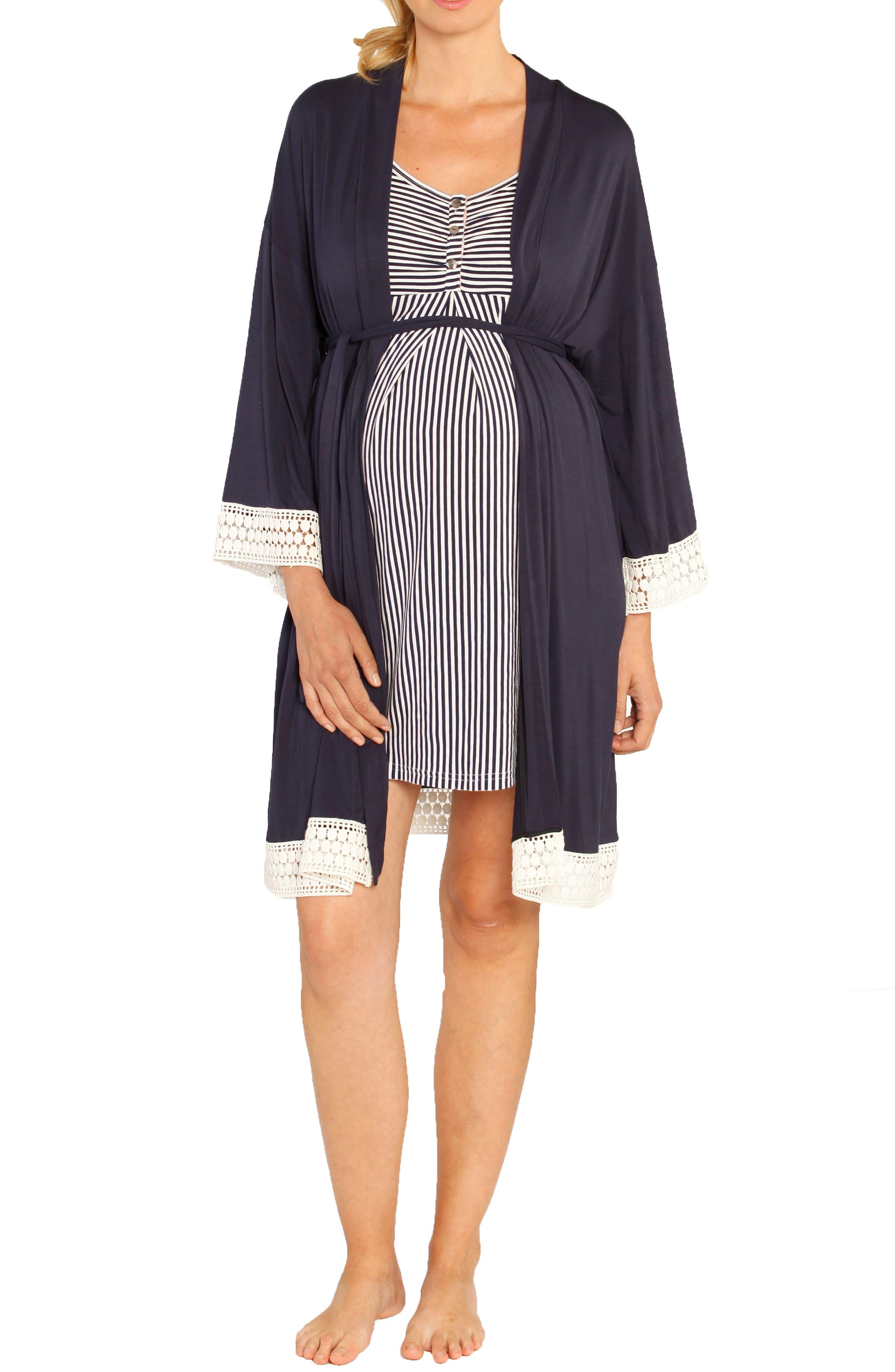 Nursing Dress, Robe & Baby Blanket Pouch Set,                             Alternate thumbnail 4, color,                             NAVY STRIPES