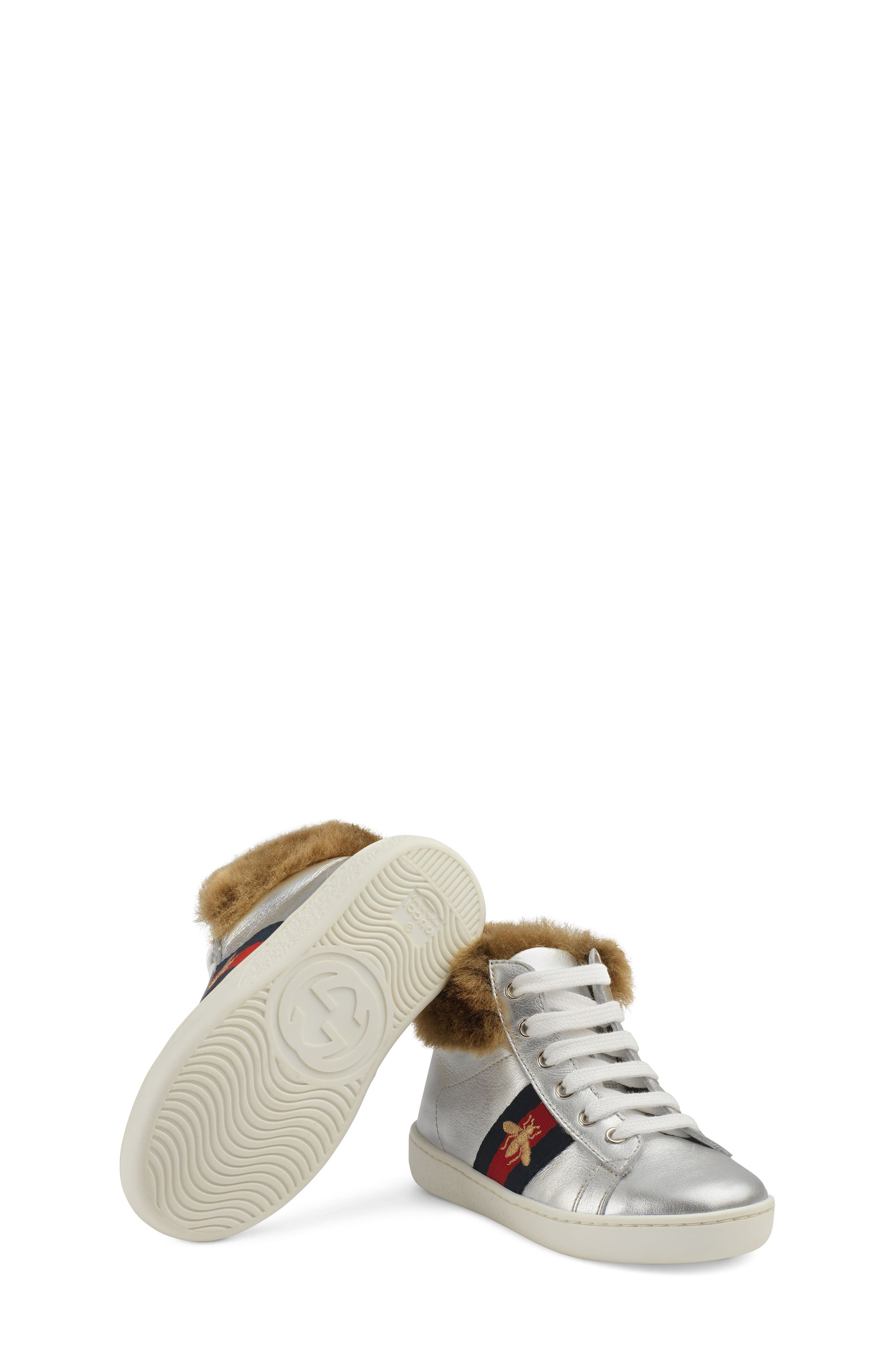 New Ace Faux Fur Trim High Top Sneaker,                             Alternate thumbnail 4, color,                             METALLIC SILVER