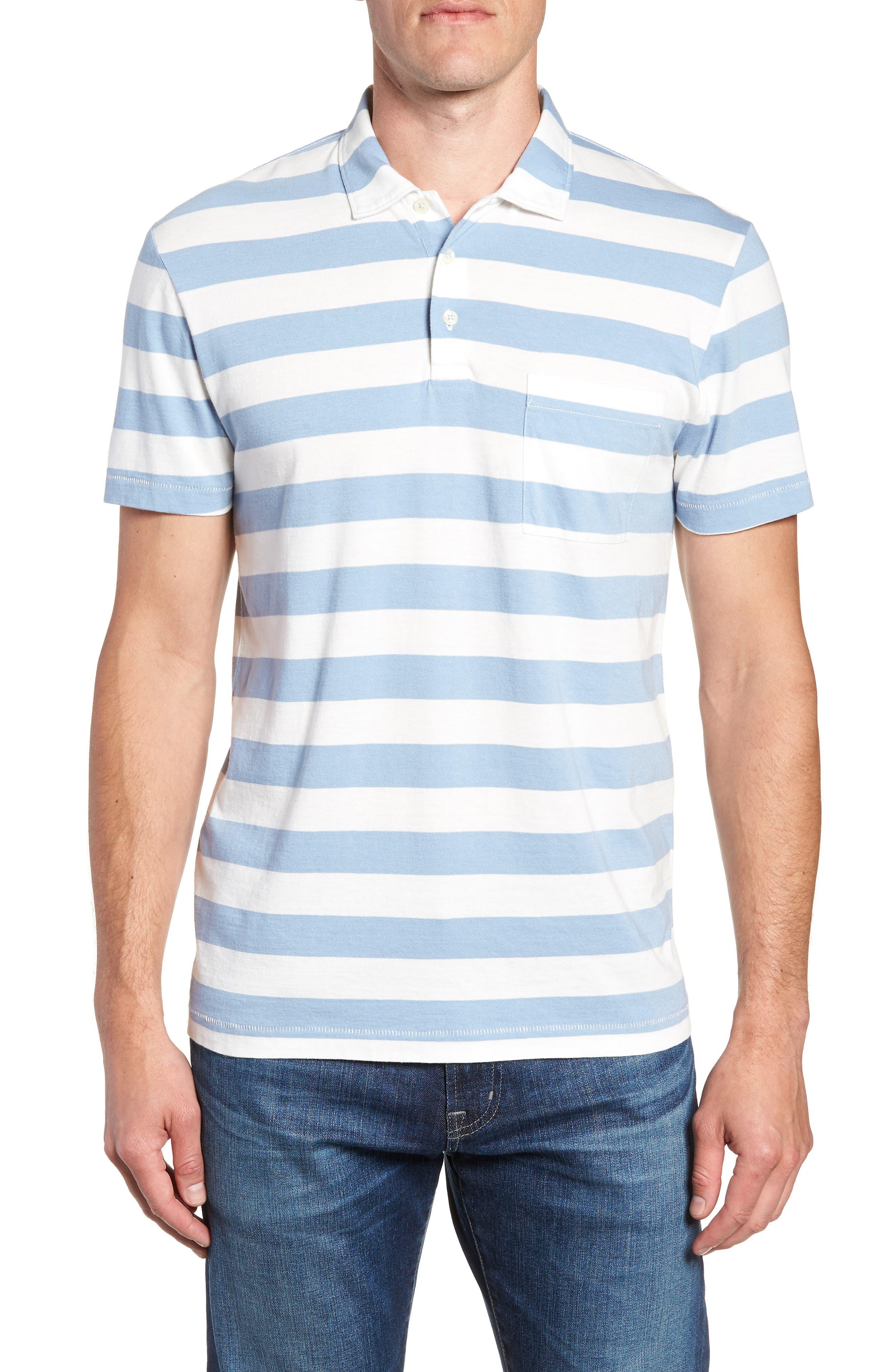 Harbor Stripe Polo,                         Main,                         color, PISCINE CUBA WHITE
