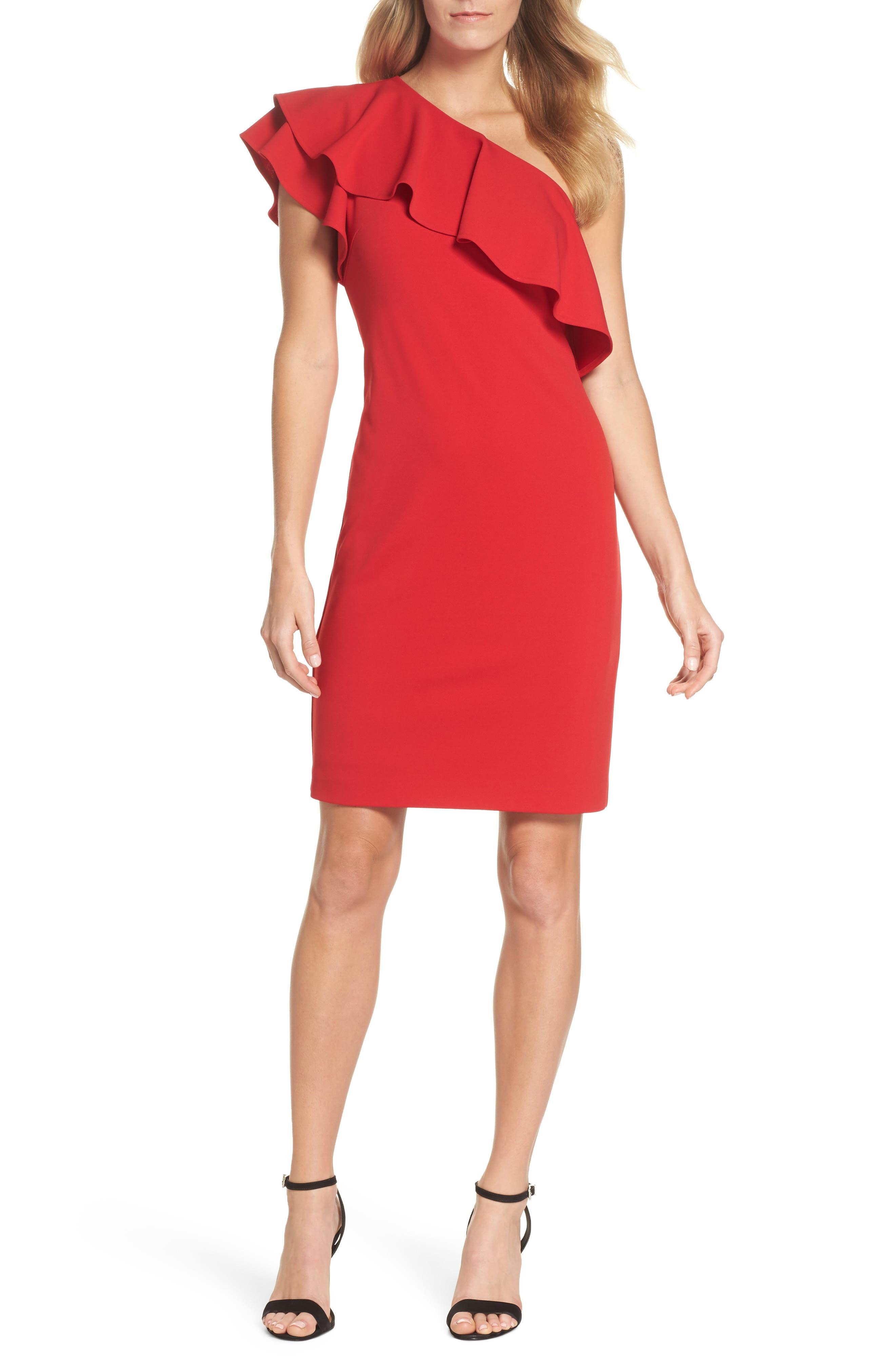 One-Shoulder Ruffle Dress,                             Main thumbnail 2, color,
