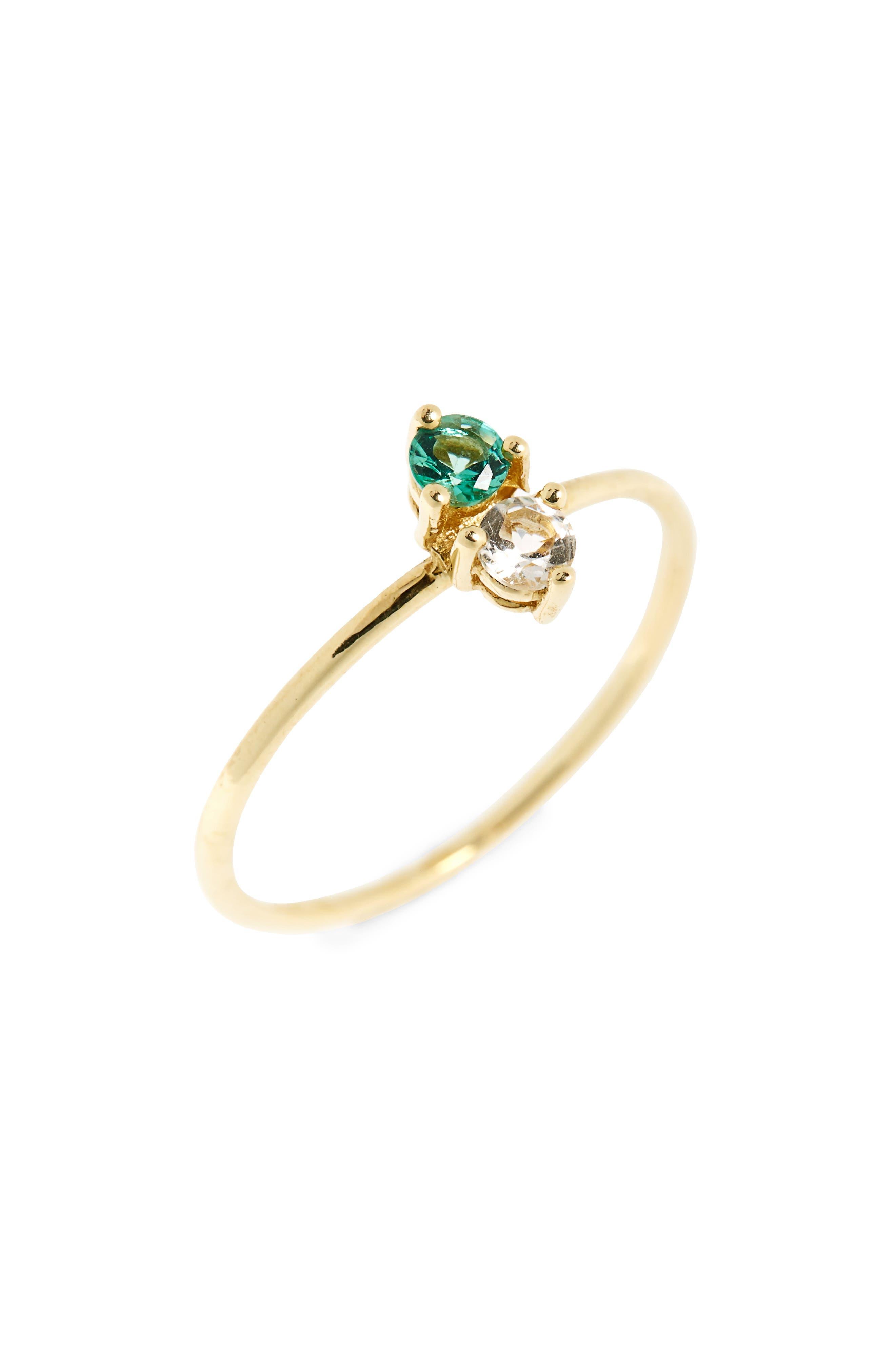 Birthstone Stacking Ring,                         Main,                         color, MAY/ EMERALD
