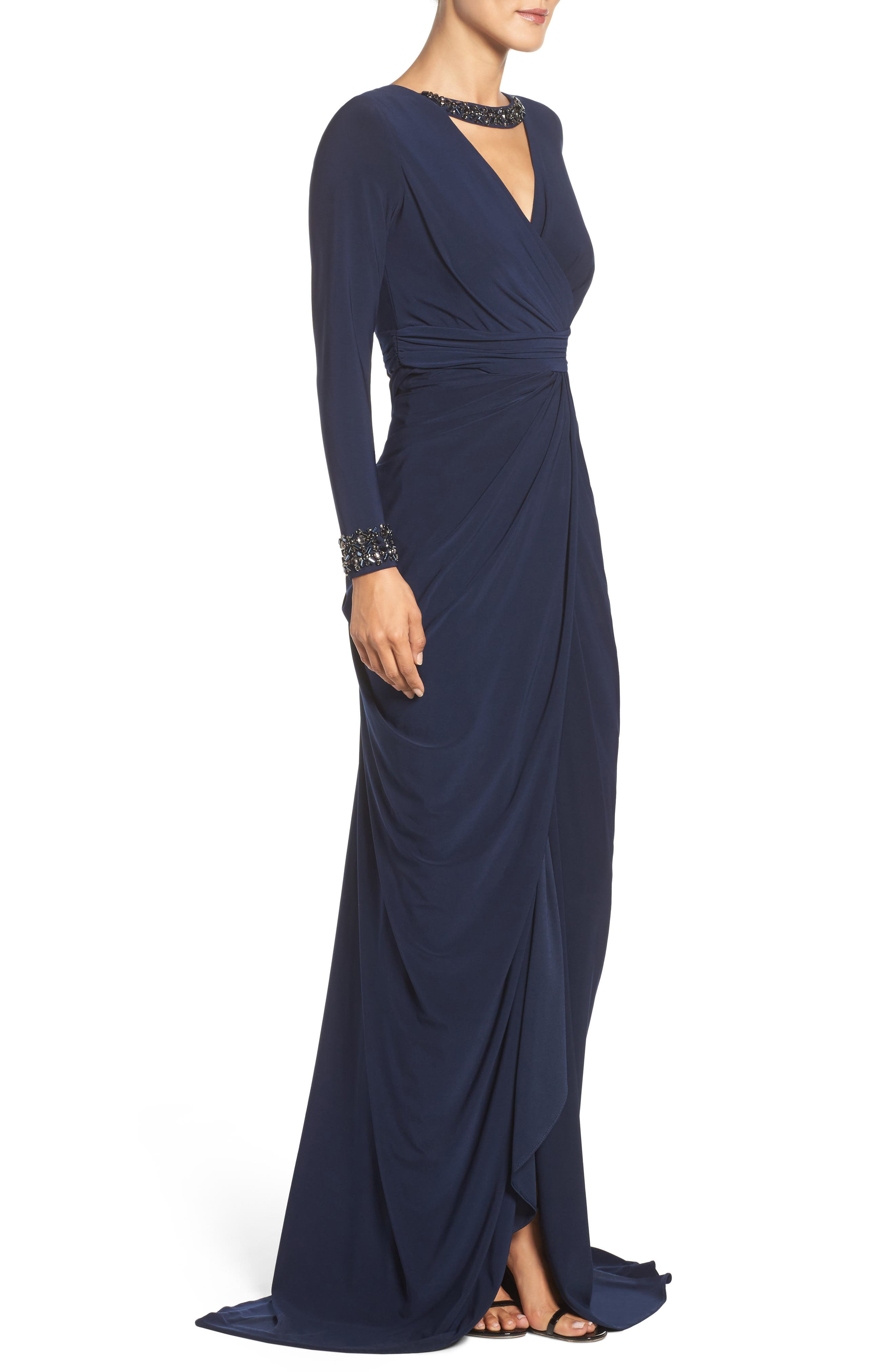 Beaded Jersey Gown,                             Alternate thumbnail 7, color,