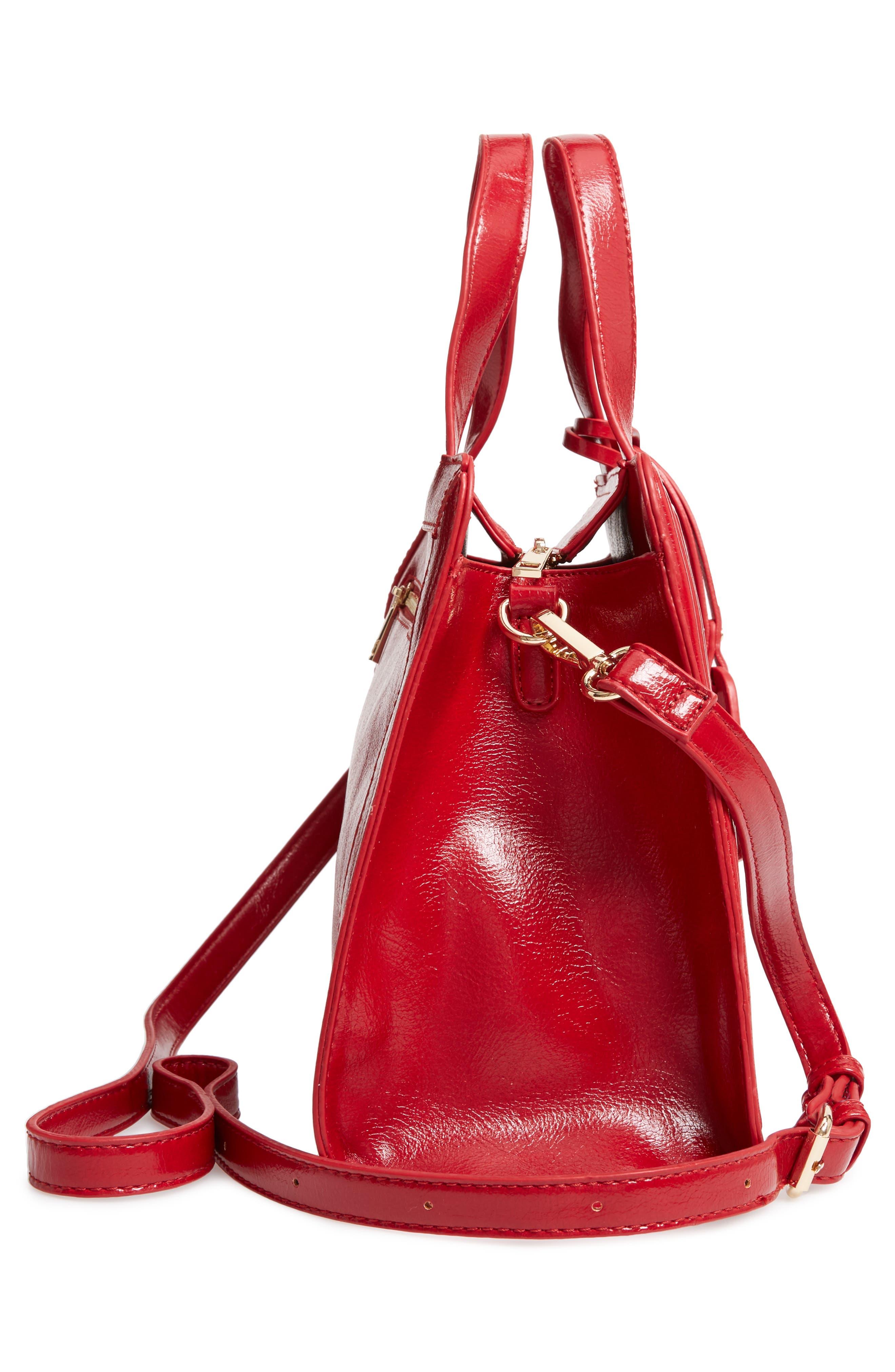 Aisln Faux Leather Satchel,                             Alternate thumbnail 5, color,                             RED