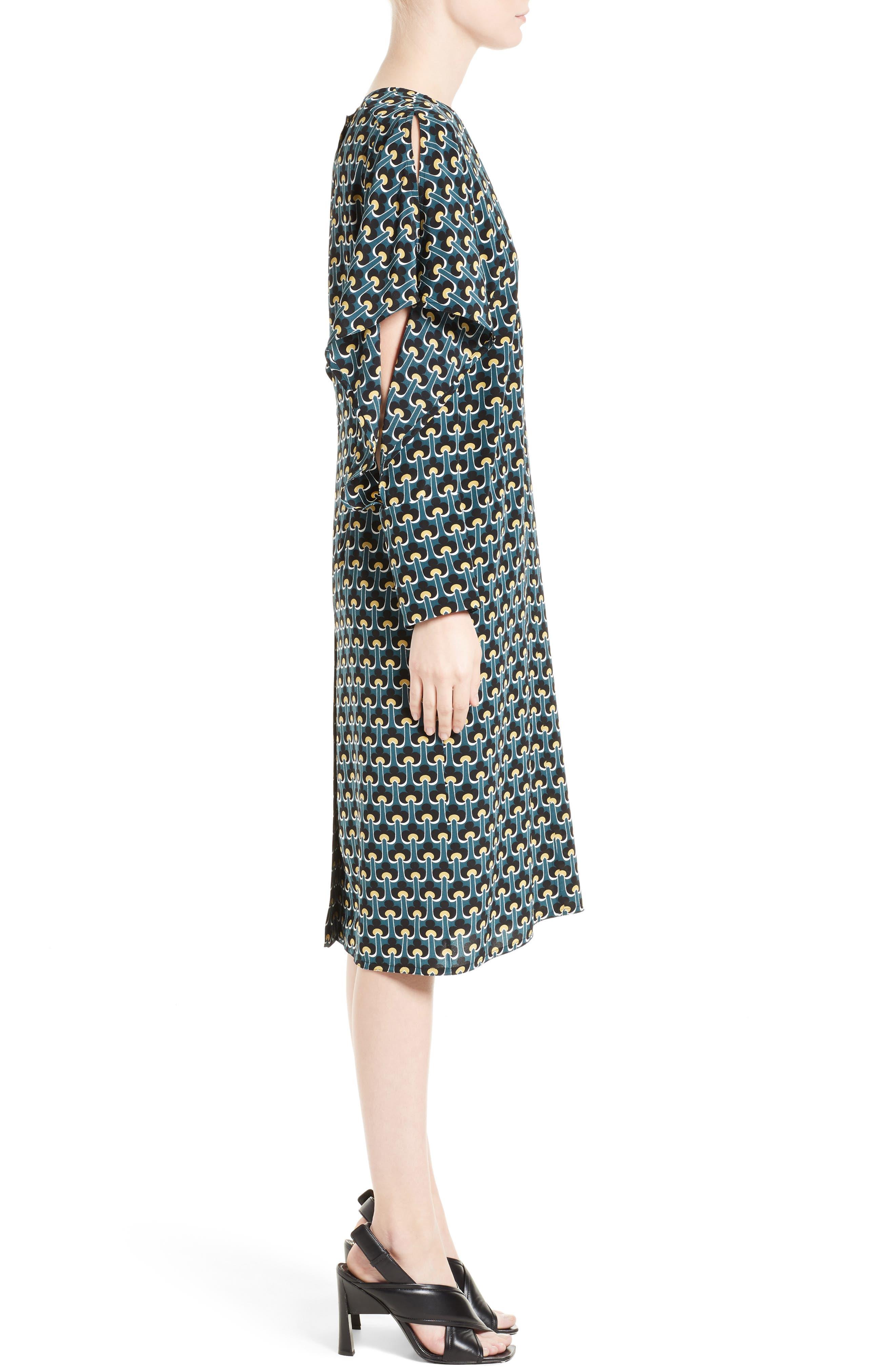 Print Silk Cold Shoulder Dress,                             Alternate thumbnail 3, color,                             400