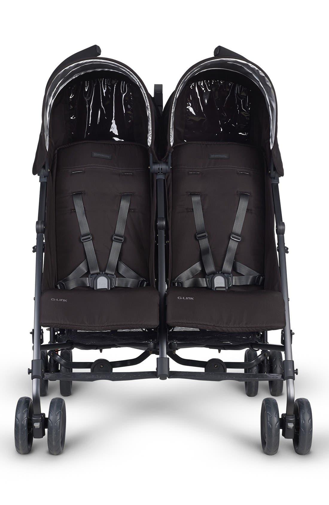 G-LINK Jake Aluminum Frame Reclining Side by Side Umbrella Stroller,                             Alternate thumbnail 4, color,                             black