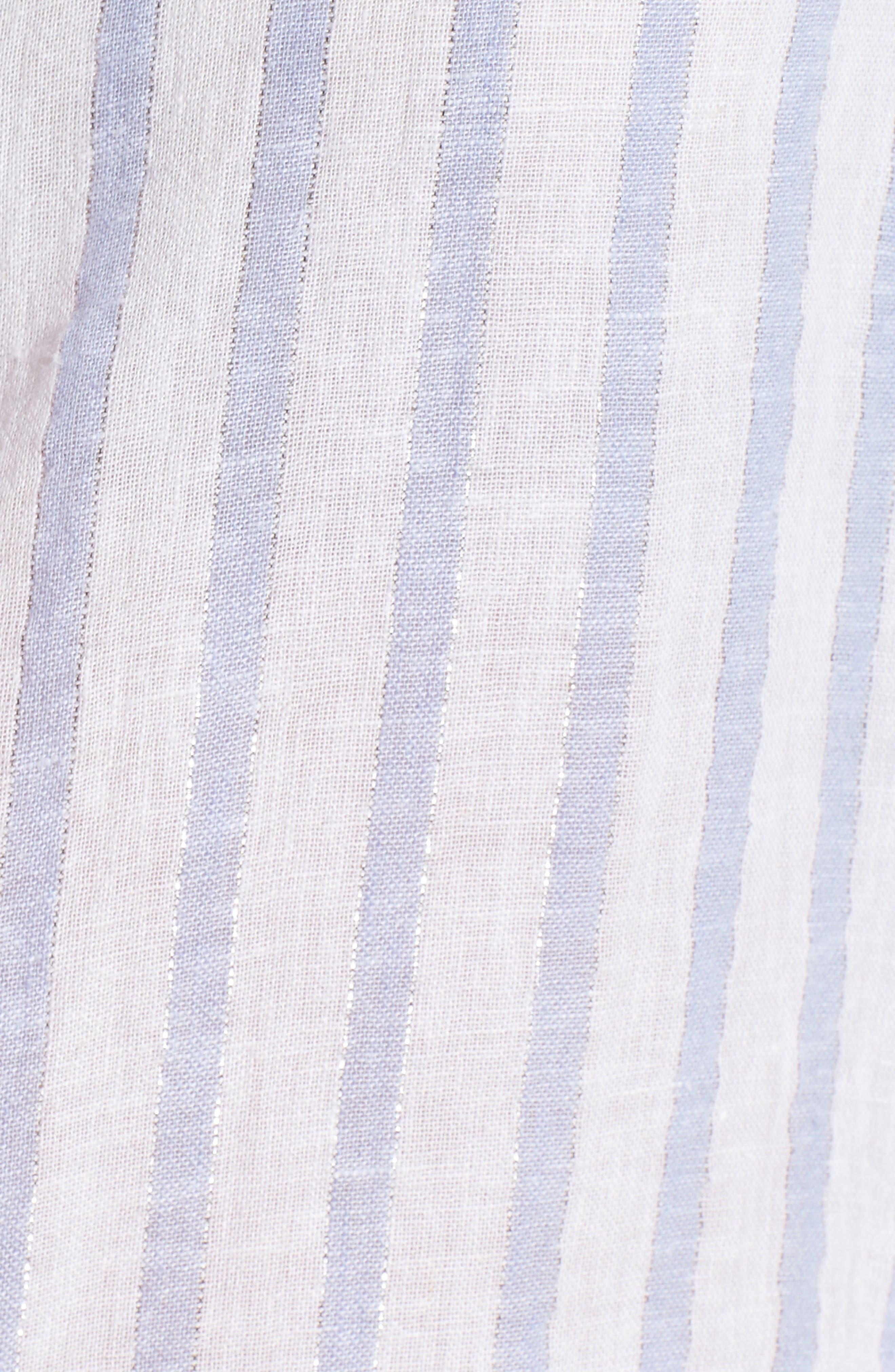 Sydney Vertical Shimmer Stripe Linen Blend Shirt,                             Alternate thumbnail 5, color,                             473
