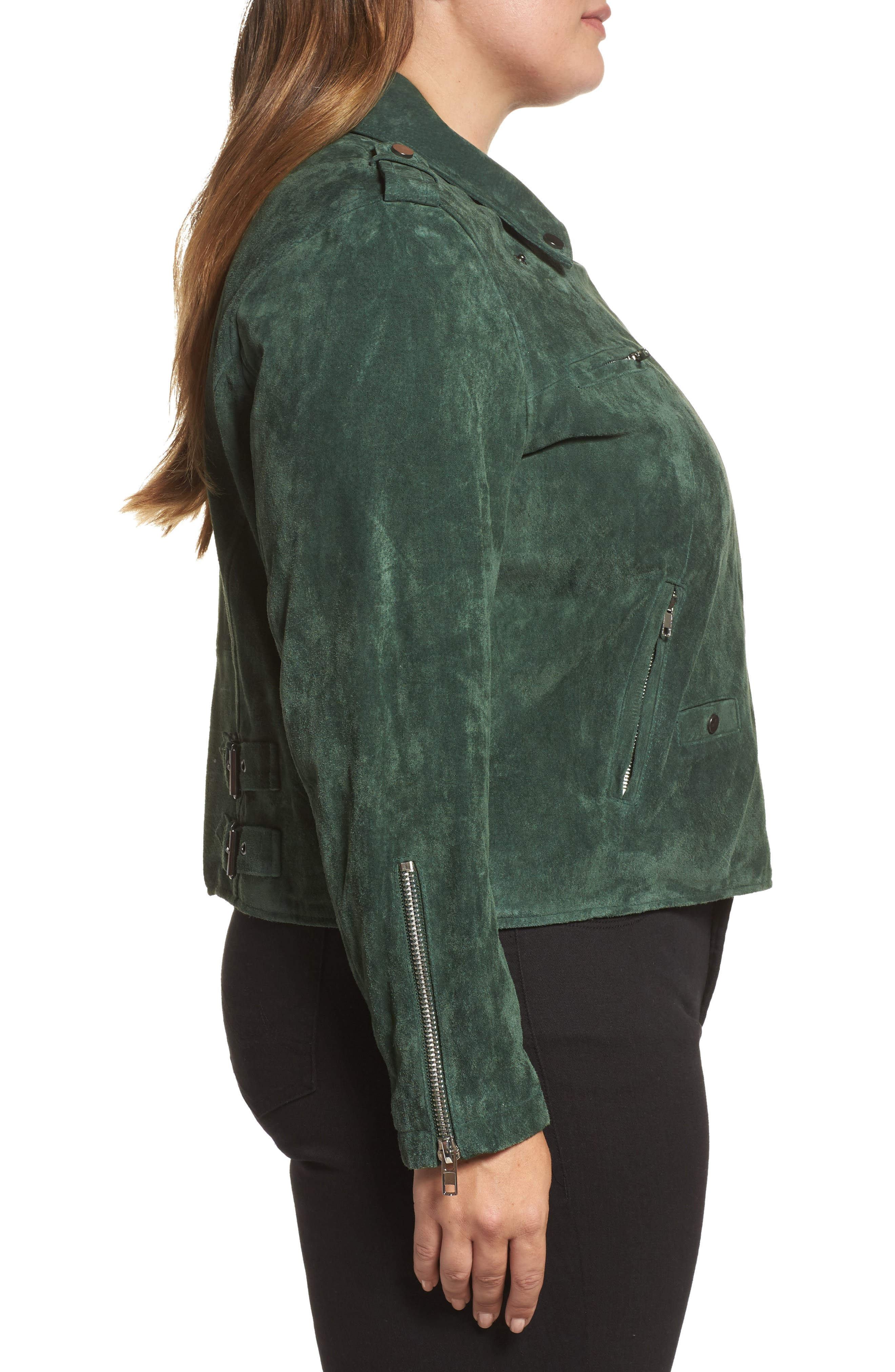 Suede Moto Jacket,                             Alternate thumbnail 8, color,