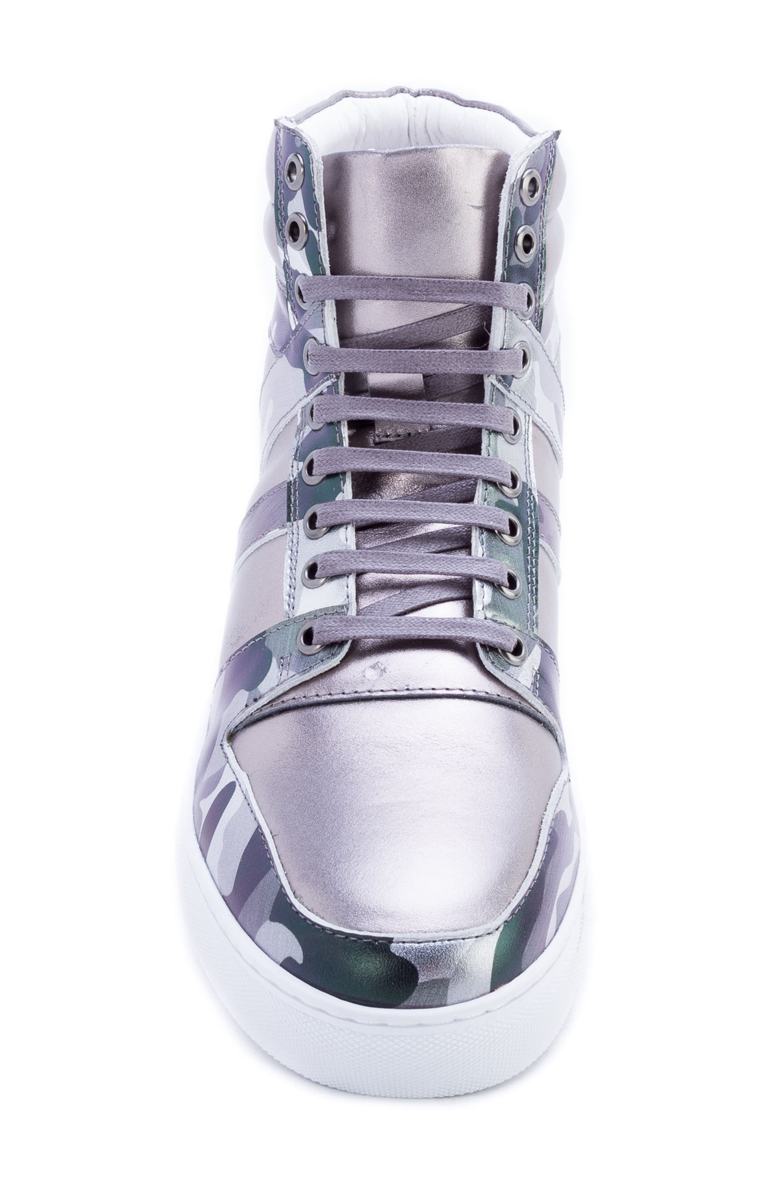 Badgley Mischka Sutherland Sneaker,                             Alternate thumbnail 5, color,                             GREY LEATHER