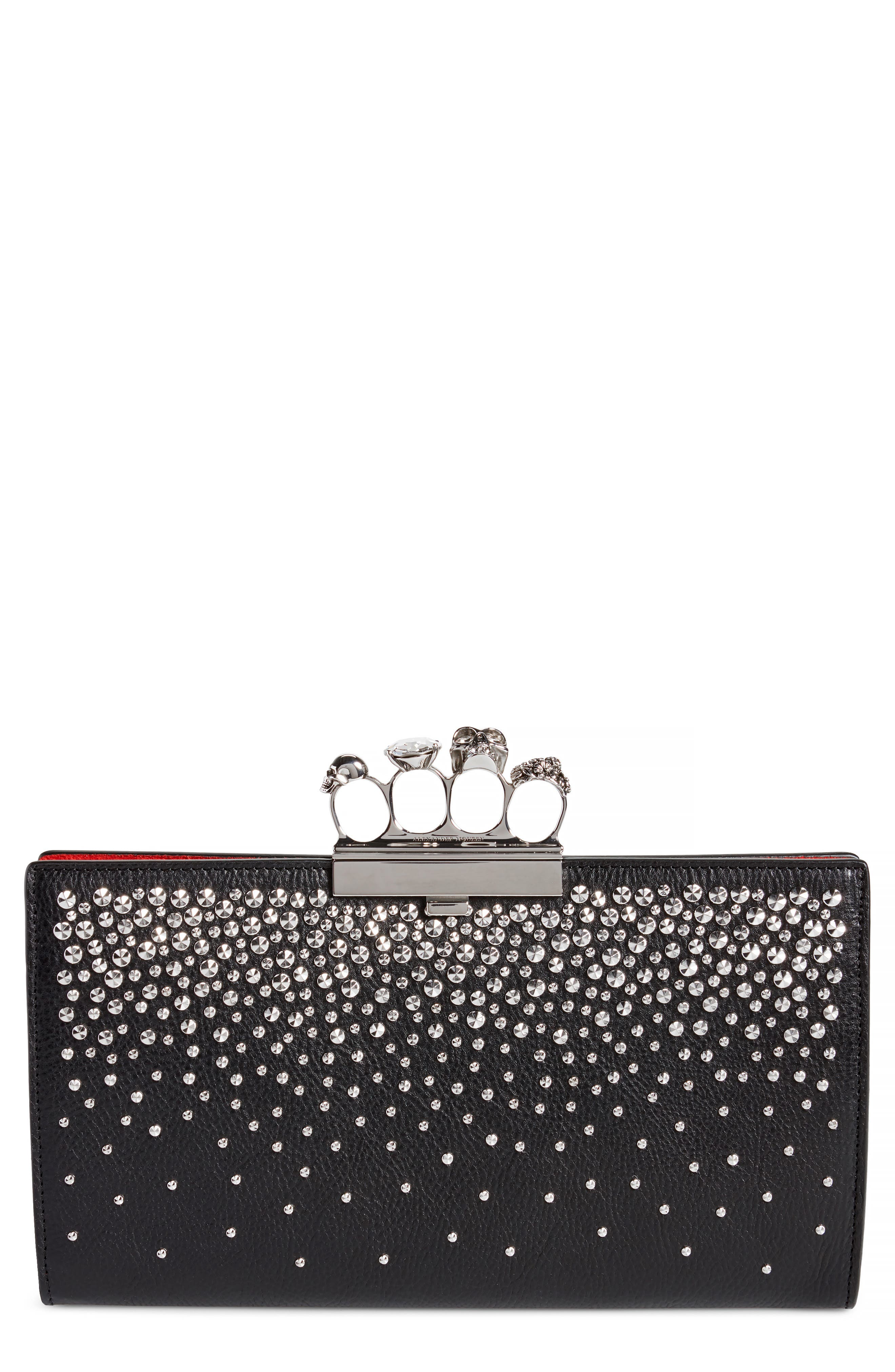Studded Knuckle Clasp Leather Clutch,                             Main thumbnail 1, color,