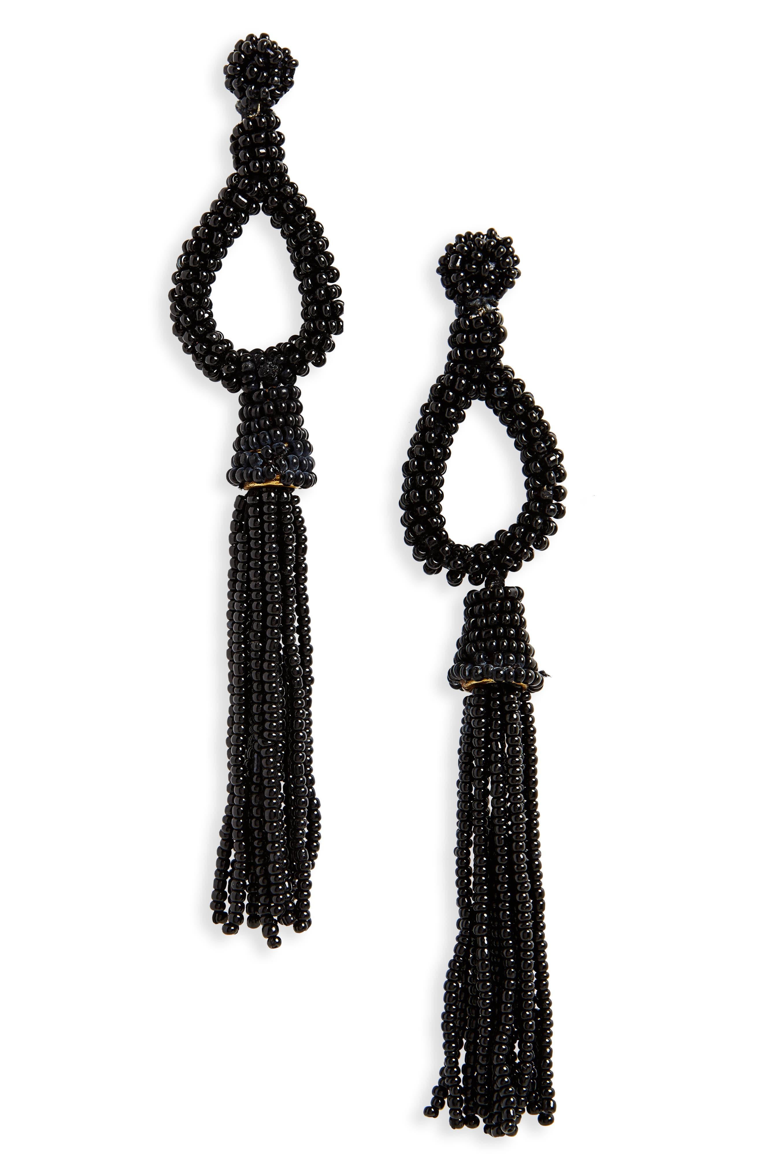 Beaded Loop Tassel Drop Earrings,                             Main thumbnail 1, color,                             001