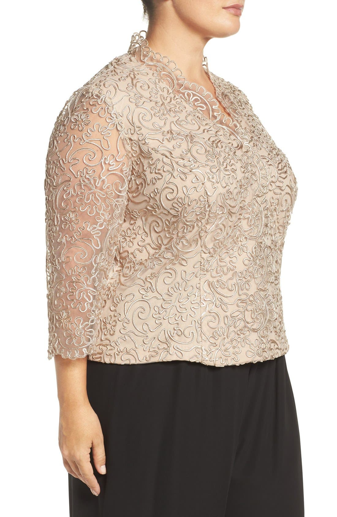 Embroidered Illusion Sleeve Blouse,                             Alternate thumbnail 9, color,