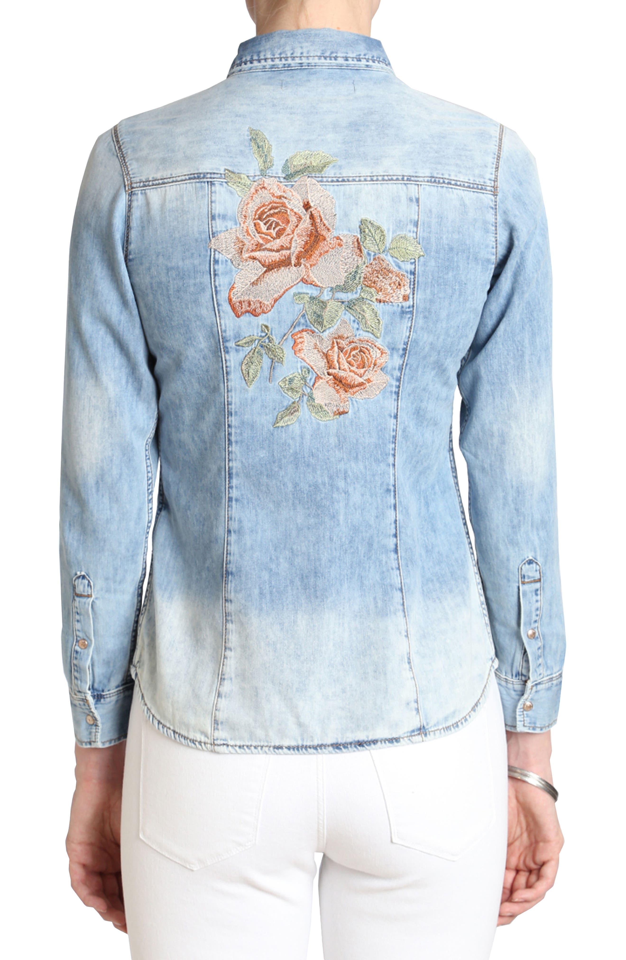 Mavi Isabel Rose Embroidery Denim Shirt,                             Alternate thumbnail 2, color,                             420