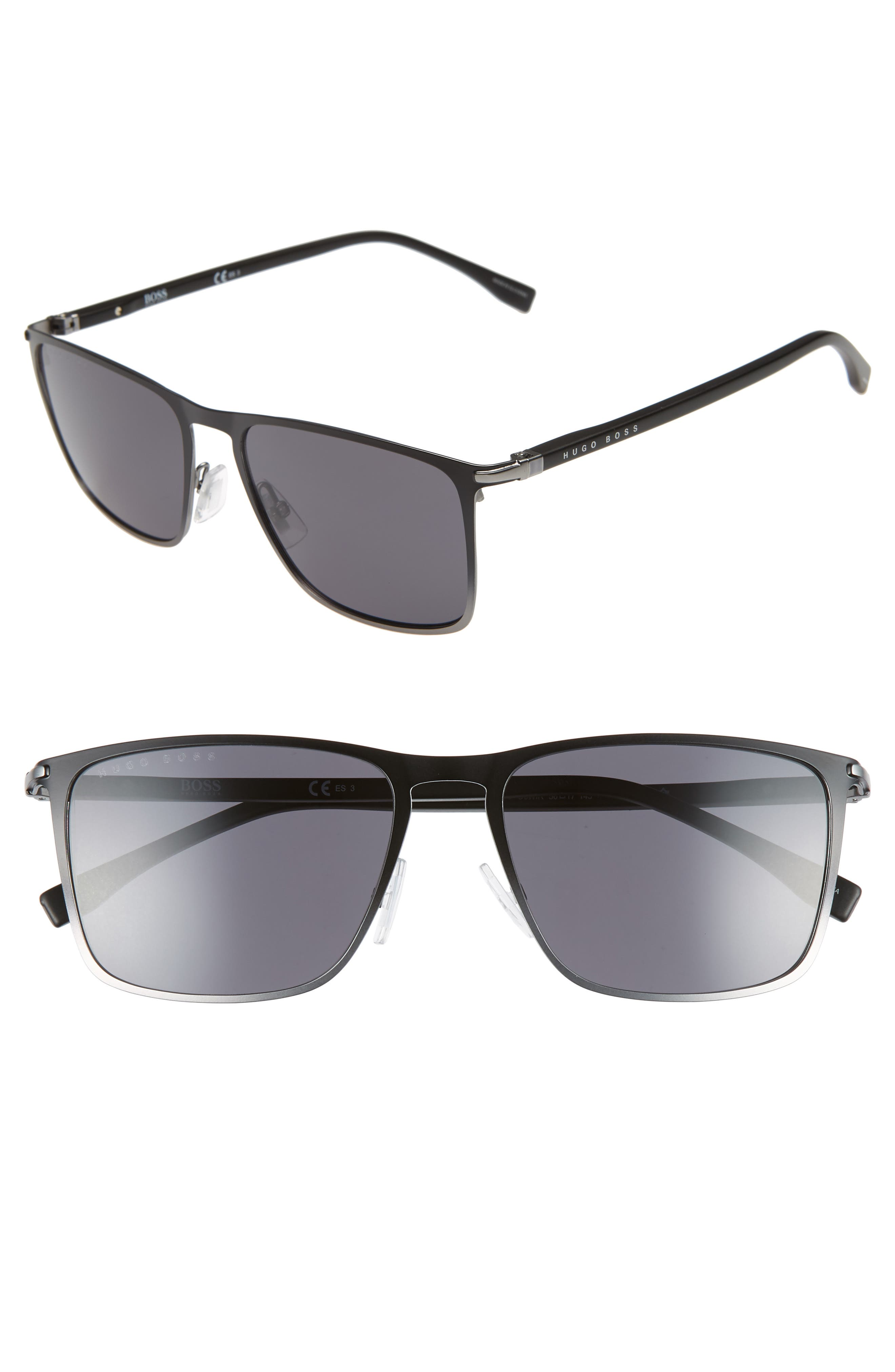56mm Rectangular Sunglasses,                             Main thumbnail 1, color,                             BLACK RUTHENIUM