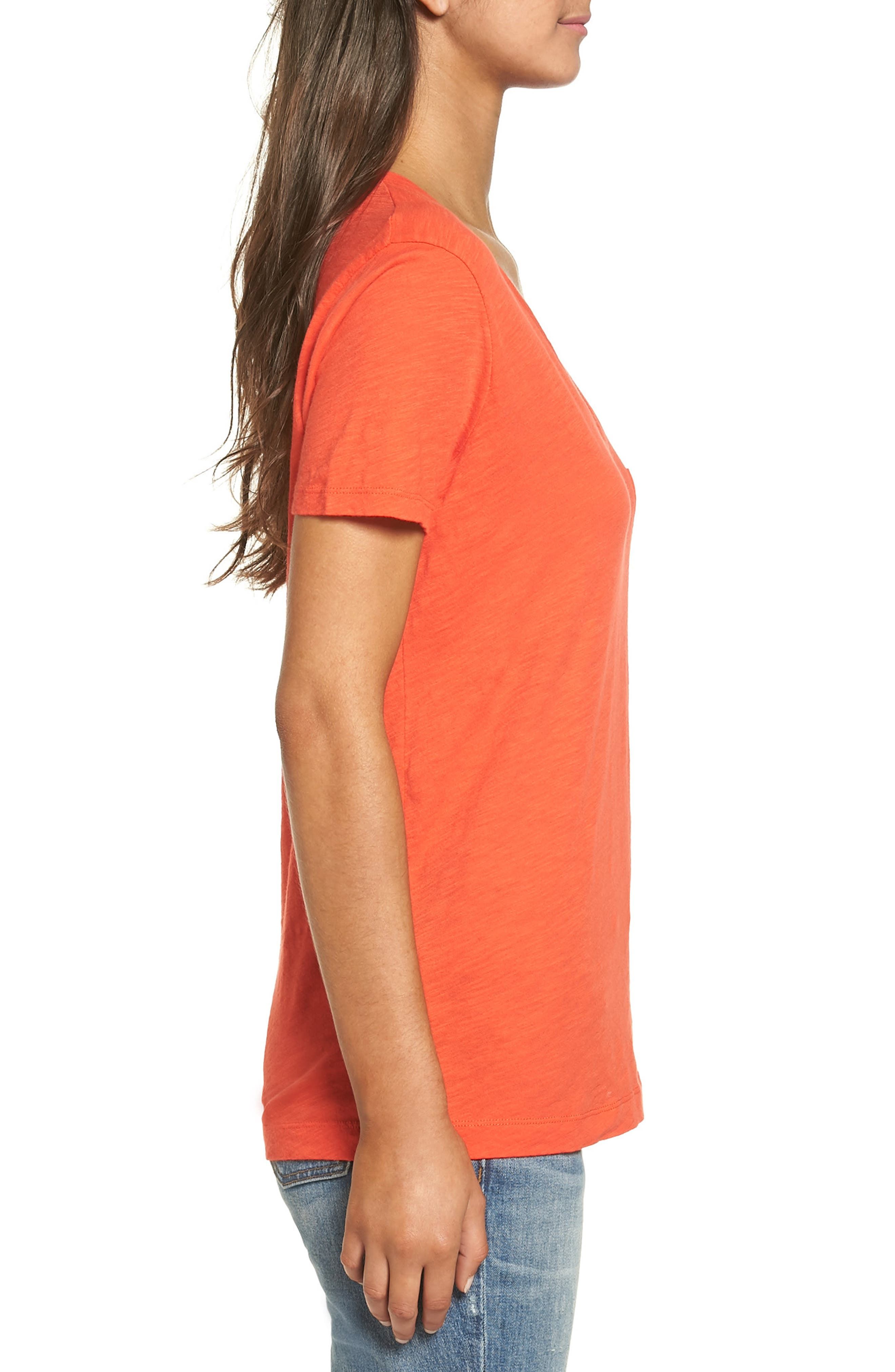 Whisper Cotton V-Neck Pocket Tee,                             Alternate thumbnail 118, color,