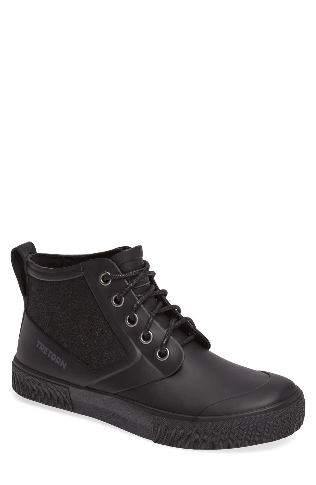 Mid Top Lace-Up Waterproof Rain Boot,                         Main,                         color, BLACK