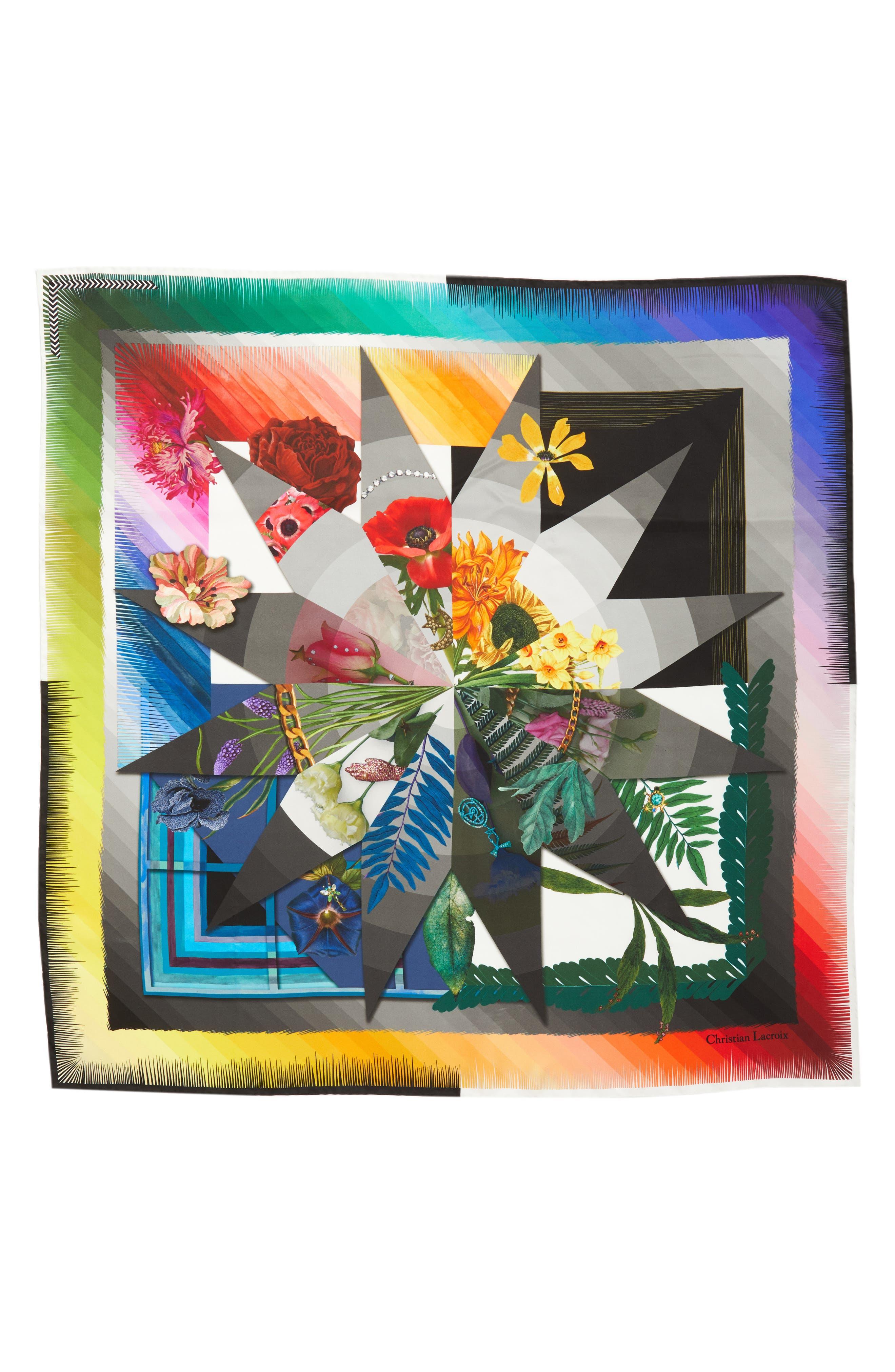 Cristian Lacroix Botanic Silk Scarf,                             Main thumbnail 1, color,                             BLACK