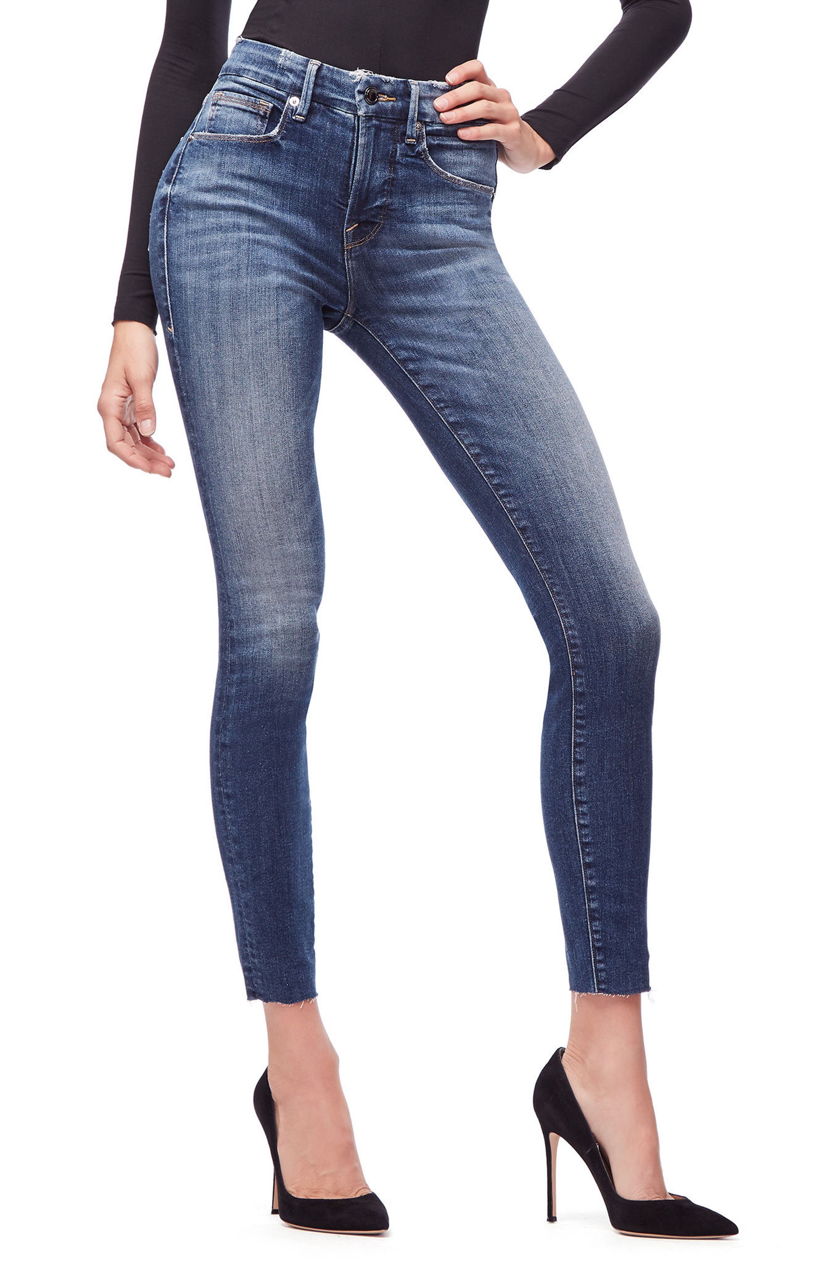Good Legs High Waist Raw Hem Skinny Jeans,                         Main,                         color, BLUE 182