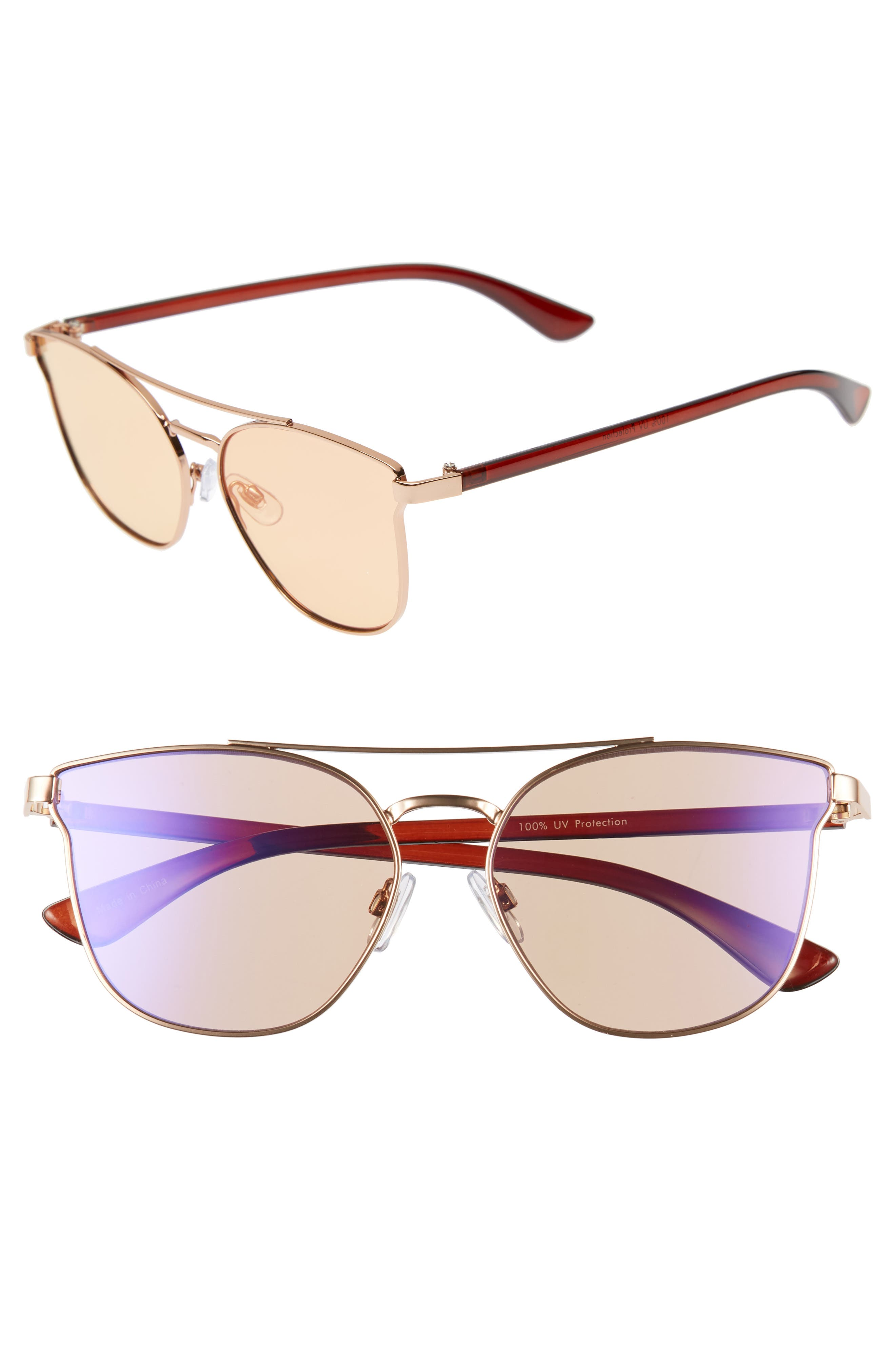 56mm Flat Mirrored Aviator Sunglasses,                             Main thumbnail 1, color,                             BRONZE/ BROWN
