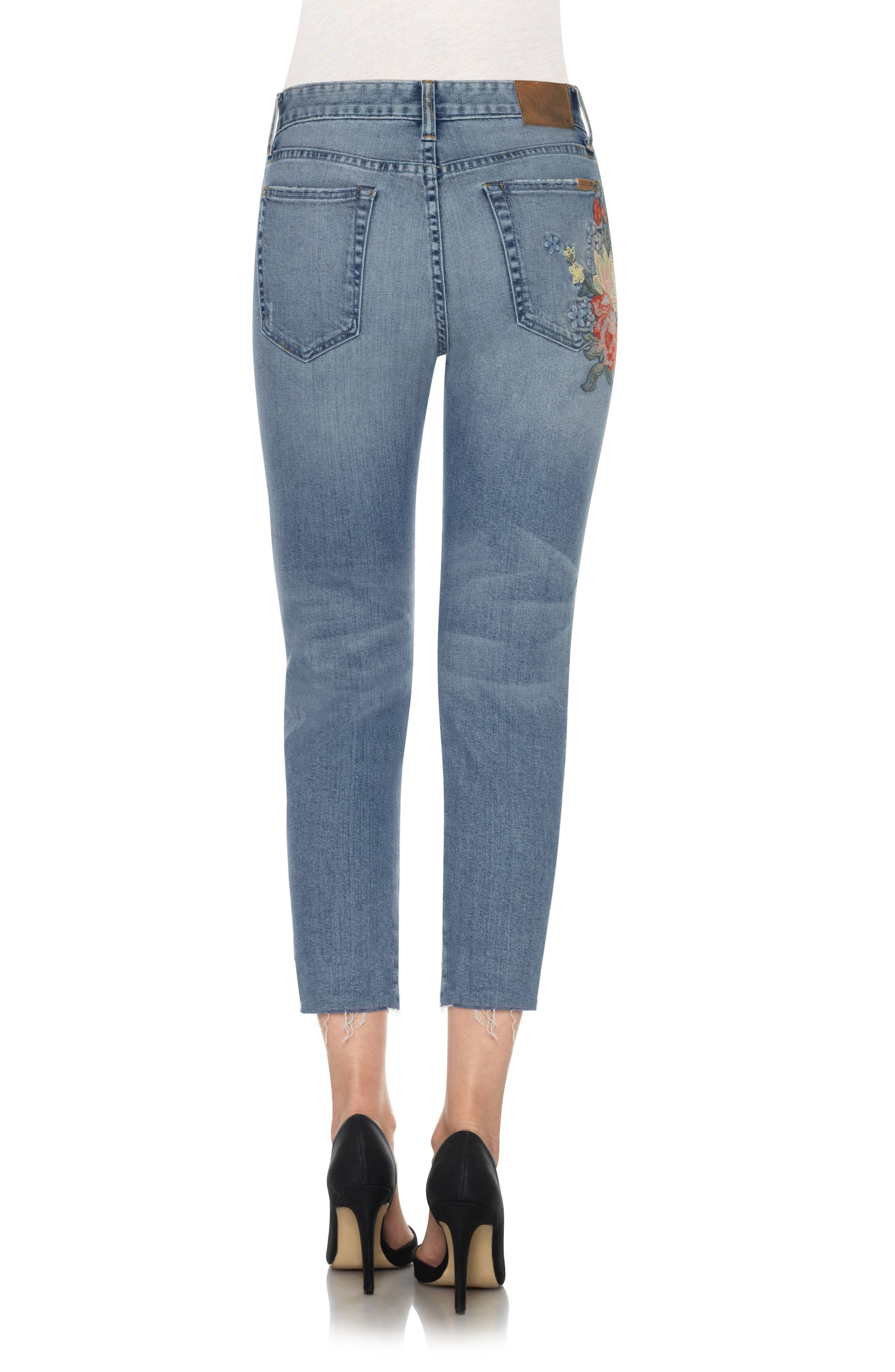 The Debbie Embroidered High Waist Crop Straight Leg Jeans,                             Alternate thumbnail 2, color,                             410