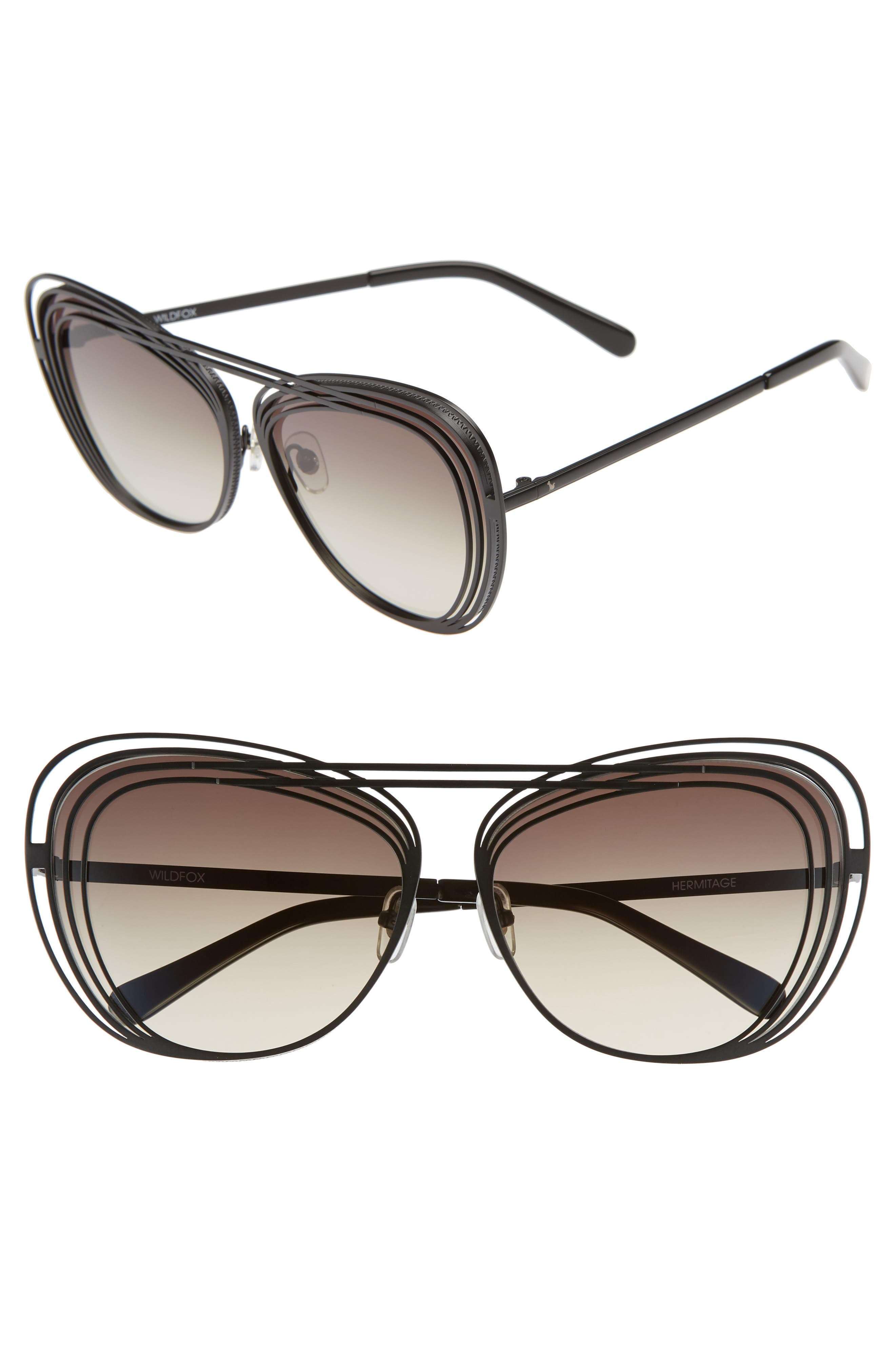 Hermitage 61mm Cat Eye Sunglasses,                         Main,                         color, MATTE BLACK/ GREY GRADIENT