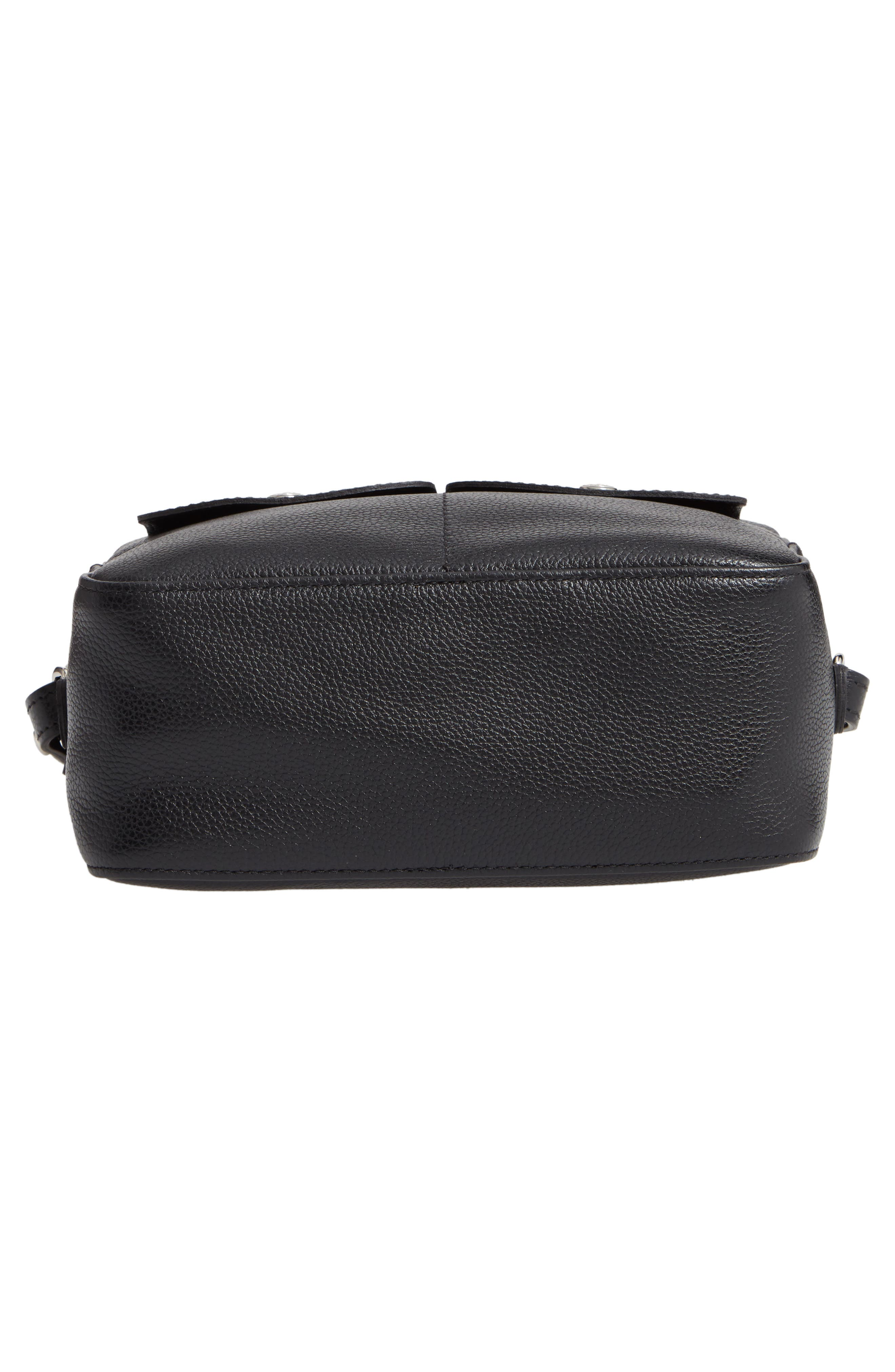 Le Foulonné Leather Camera Bag,                             Alternate thumbnail 6, color,                             BLACK