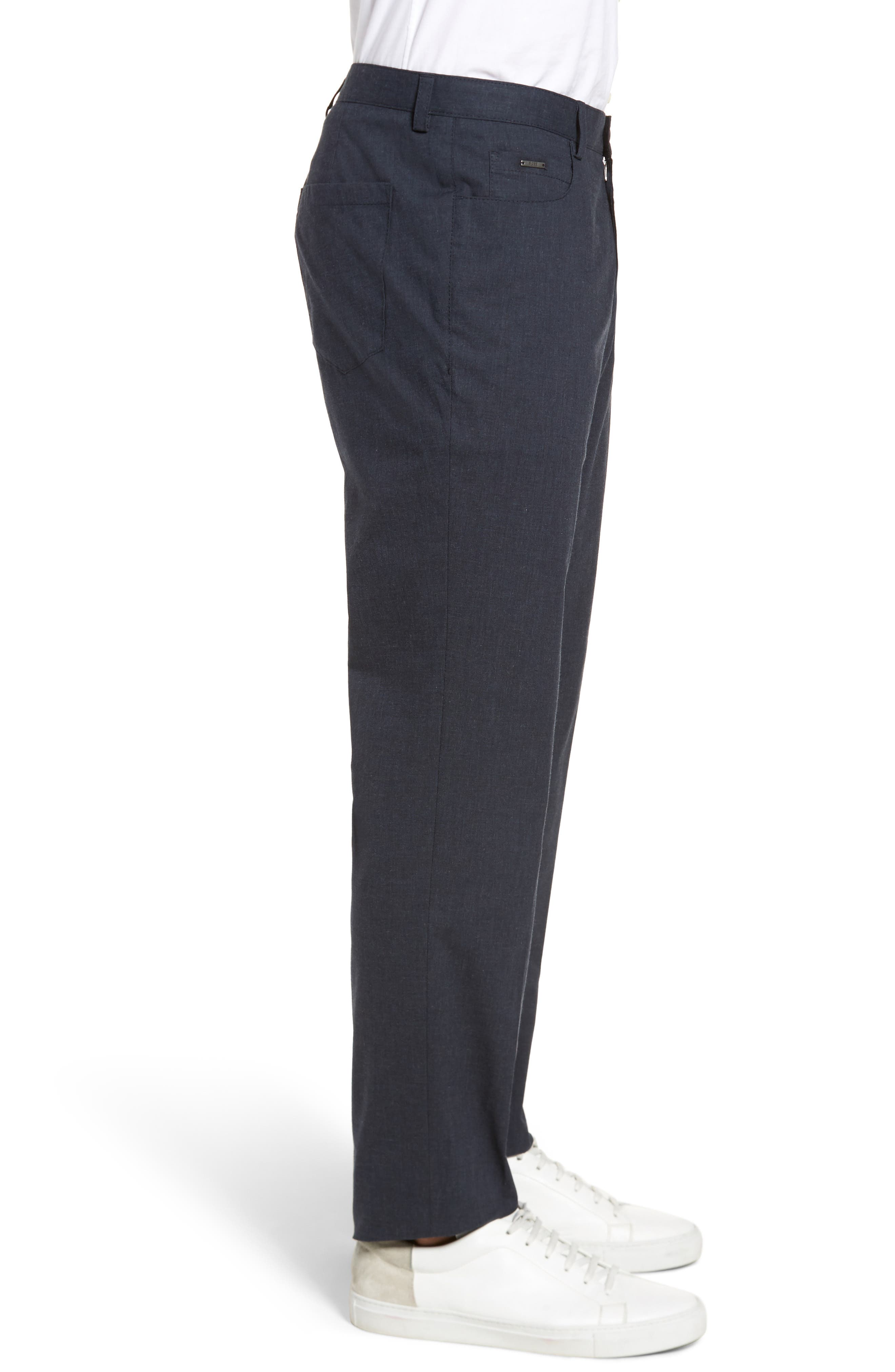 Gaetano Flat Front Stretch Solid Cotton Trousers,                             Alternate thumbnail 3, color,                             DARK GREY