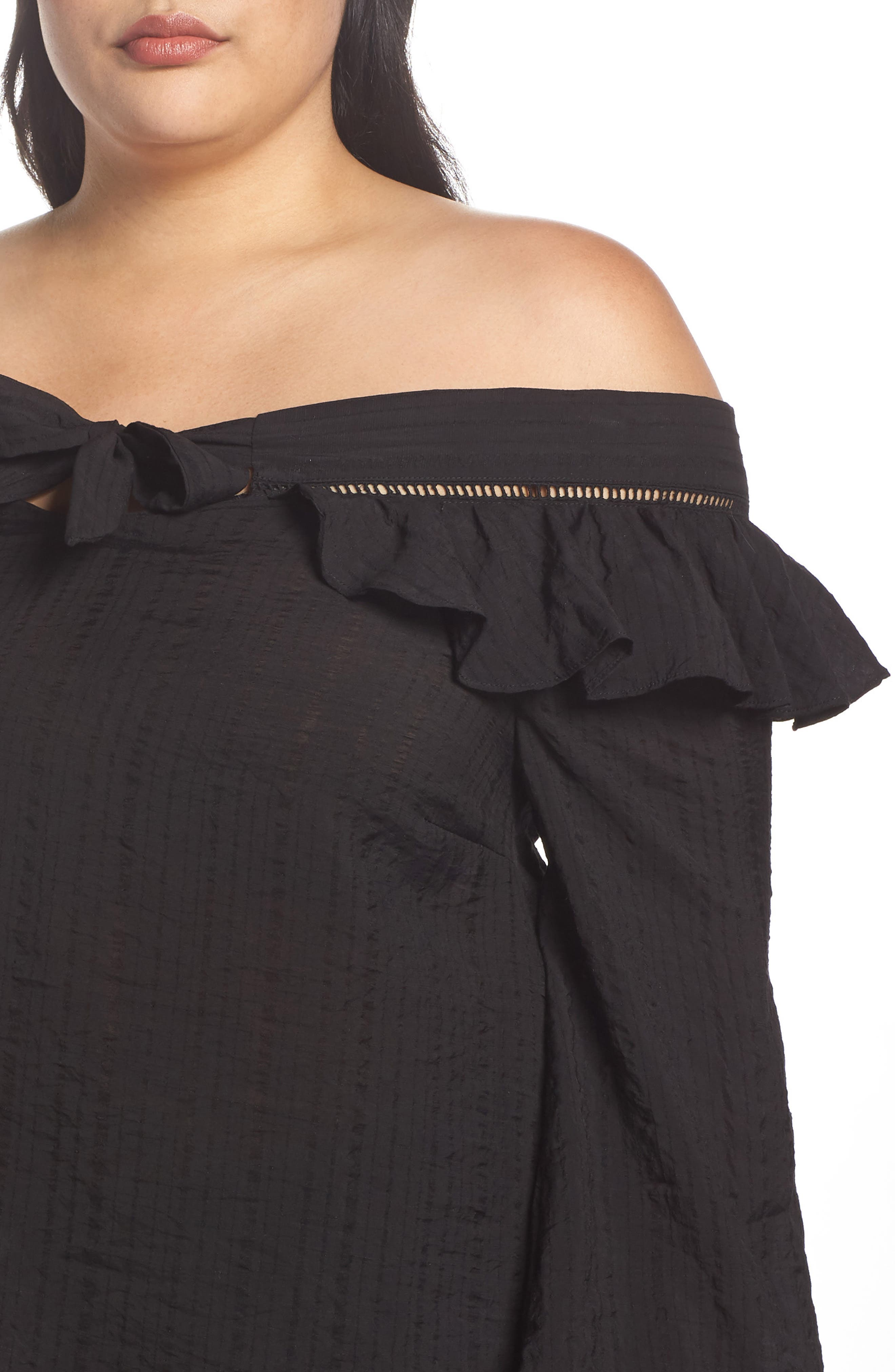 Ruffle Tie Off the Shoulder Top,                             Alternate thumbnail 4, color,                             001