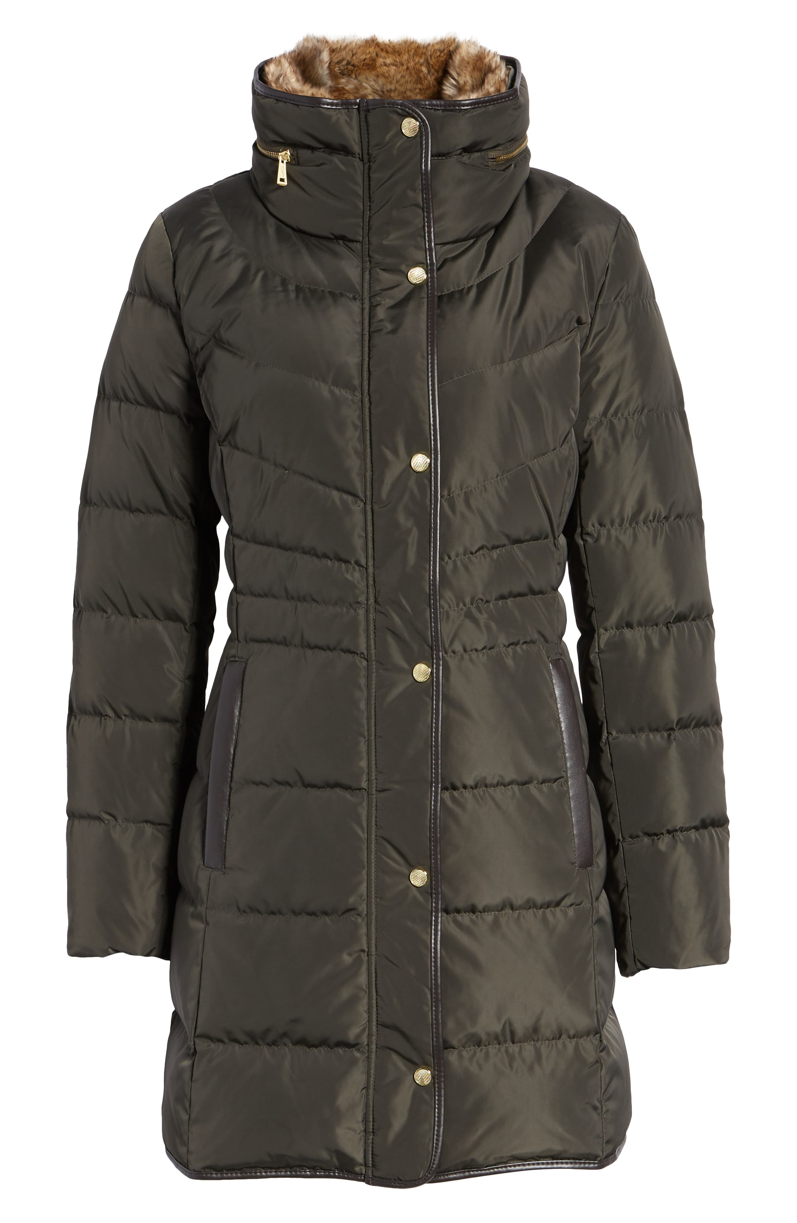 Cole Haan Quilted Down & Feather Fill Jacket with Faux Fur Trim,                             Alternate thumbnail 6, color,                             FOREST
