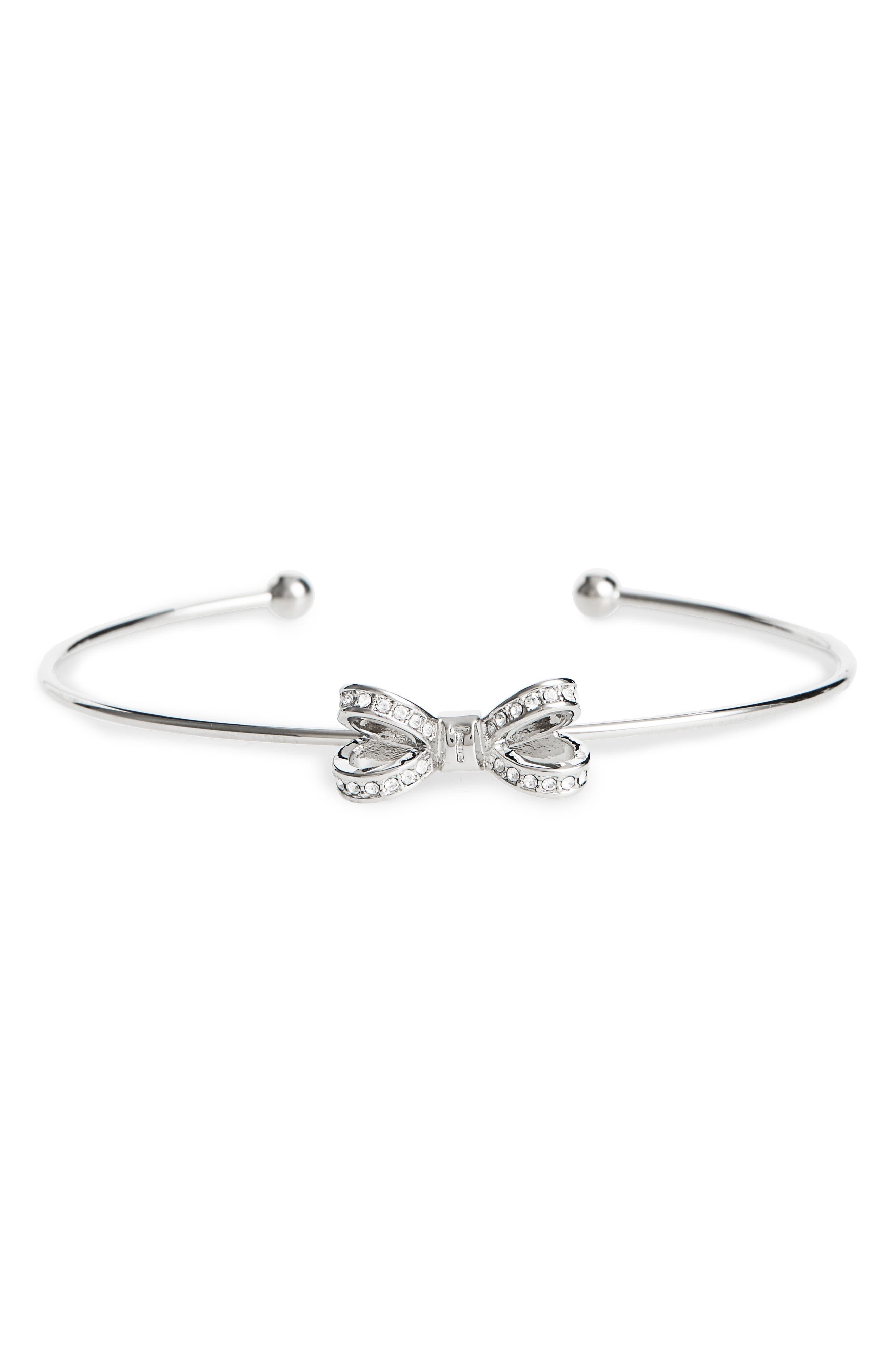 Mini Opulent Pavé Bow Cuff Bracelet,                             Main thumbnail 1, color,                             CRYSTAL