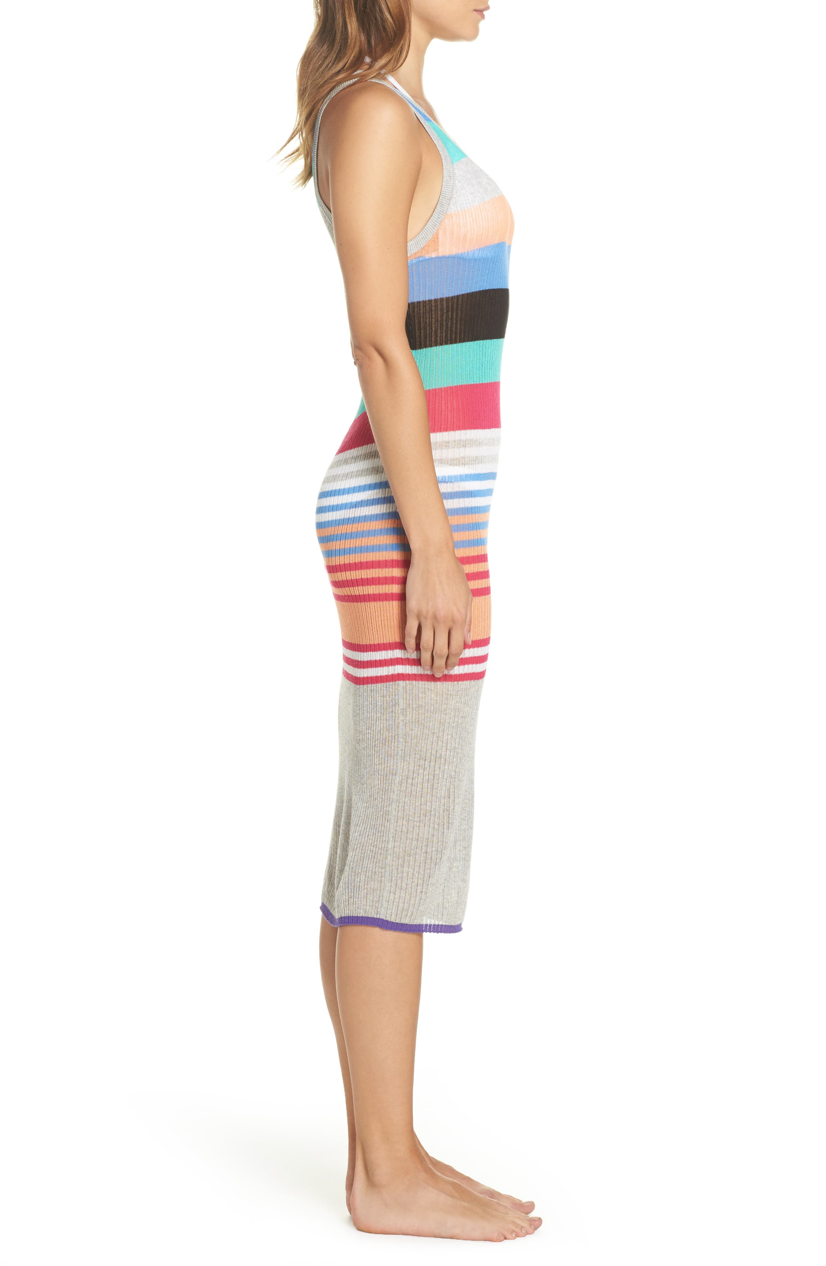 Knit Cover-Up Dress,                             Alternate thumbnail 3, color,                             001